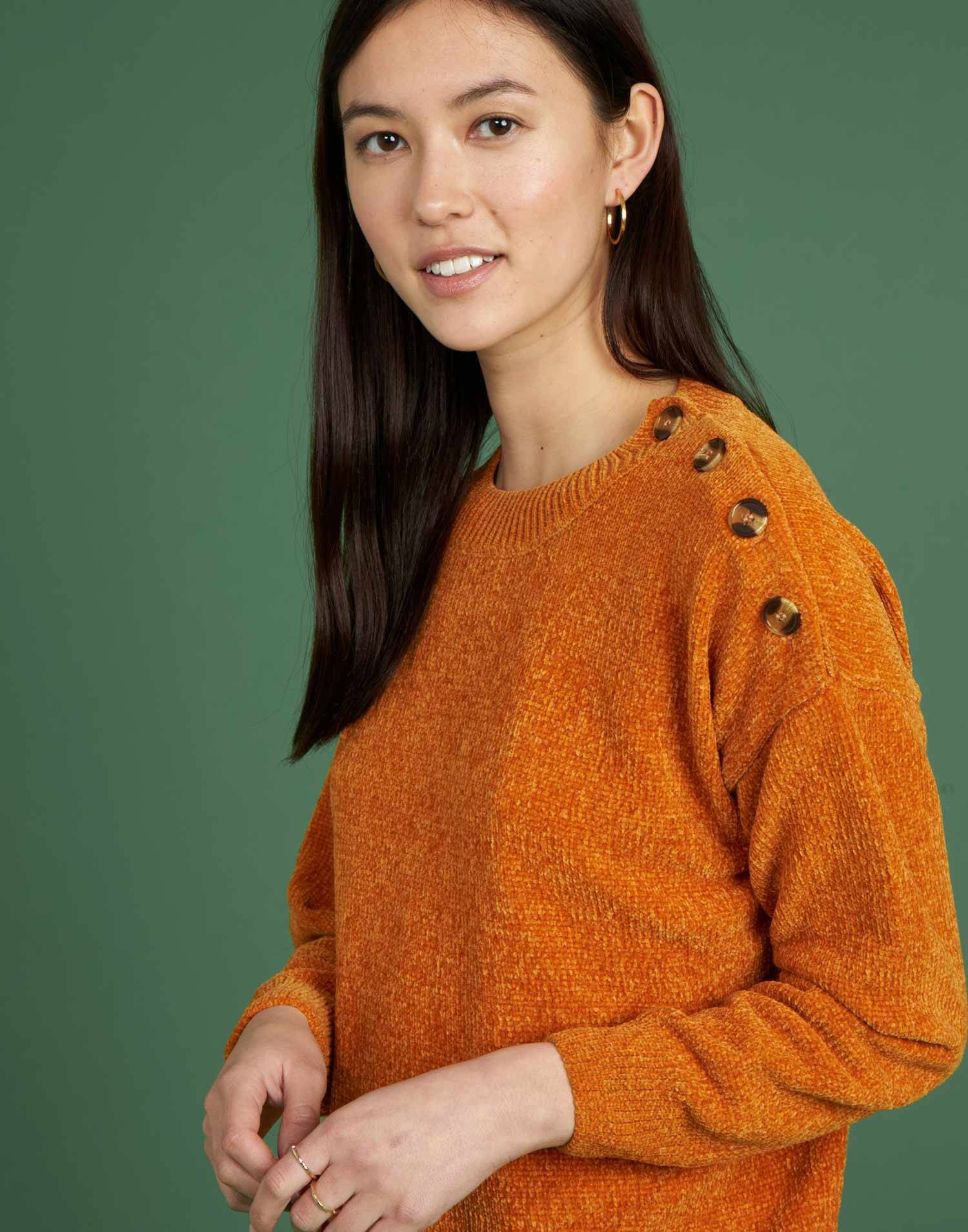 Chenille sweater with buttons