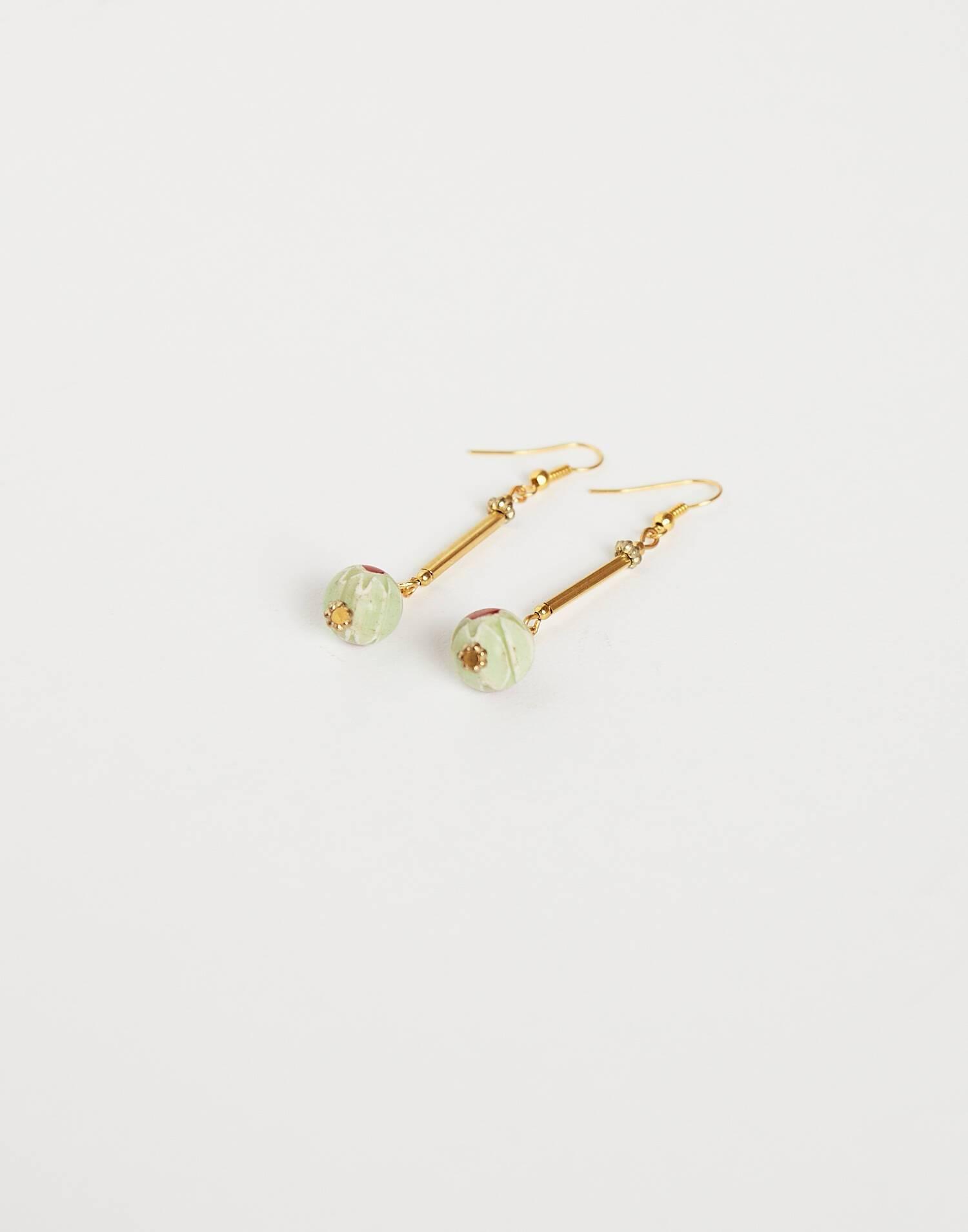 Boucles d'oreilles pendantes perle peinte