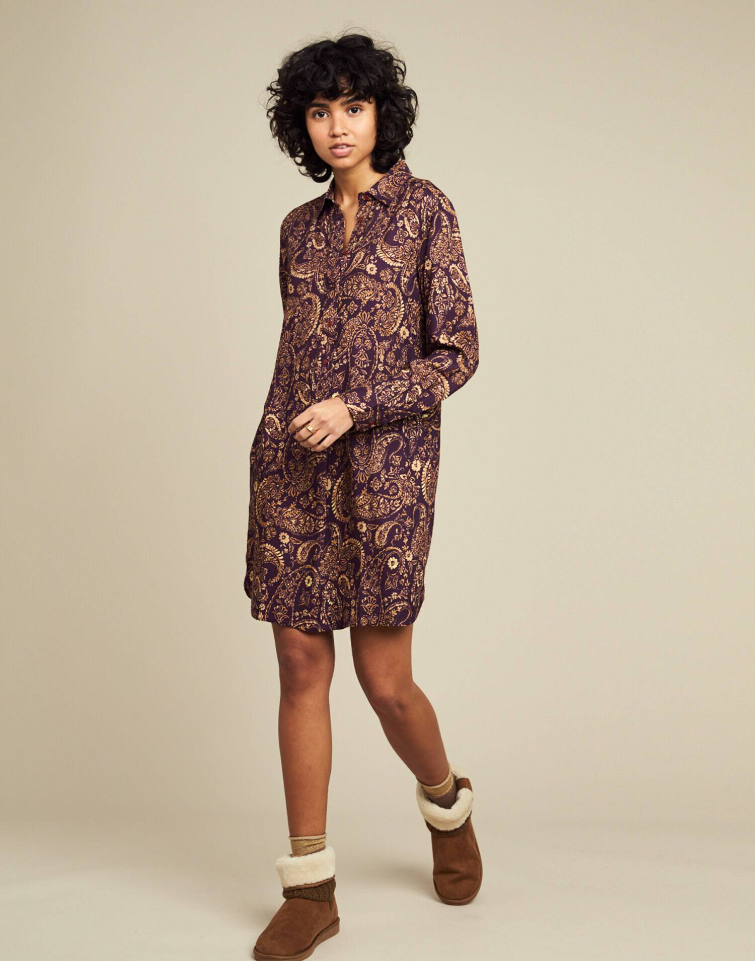 Cashmere print shirt dress