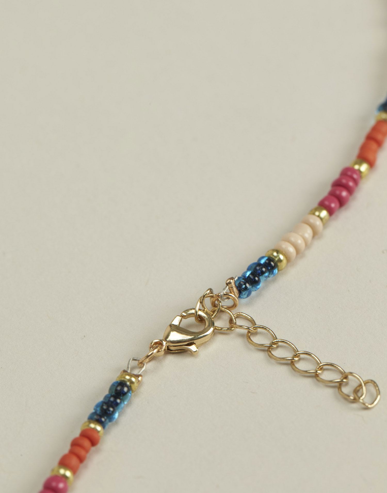 Multicolored bead long necklace