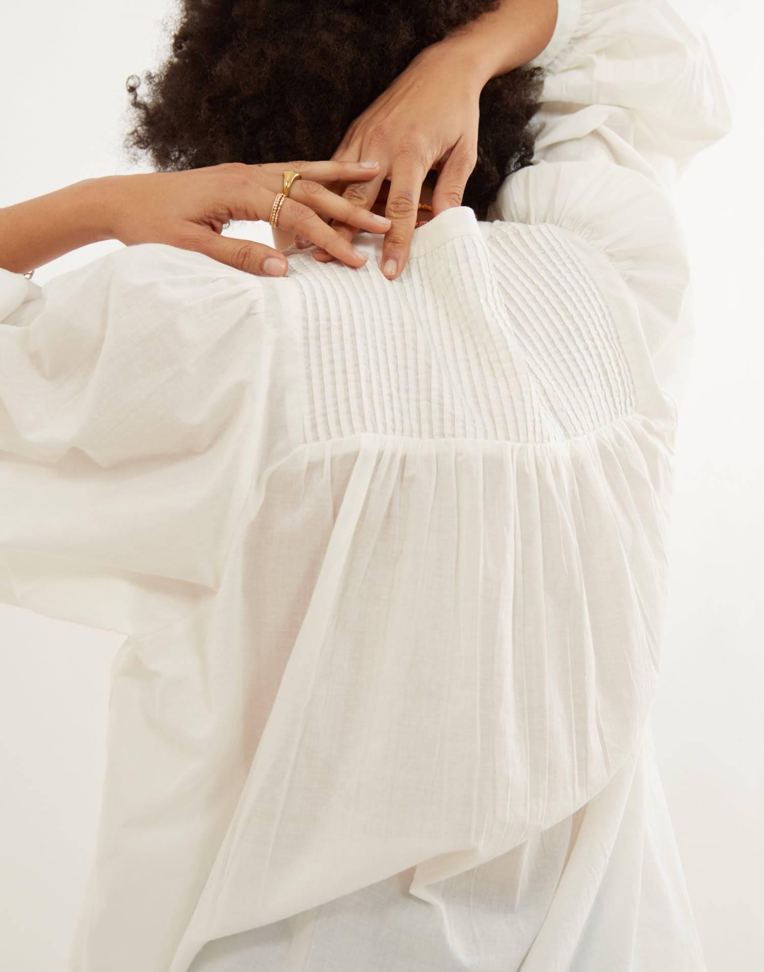 blusa manga abullonada pleats