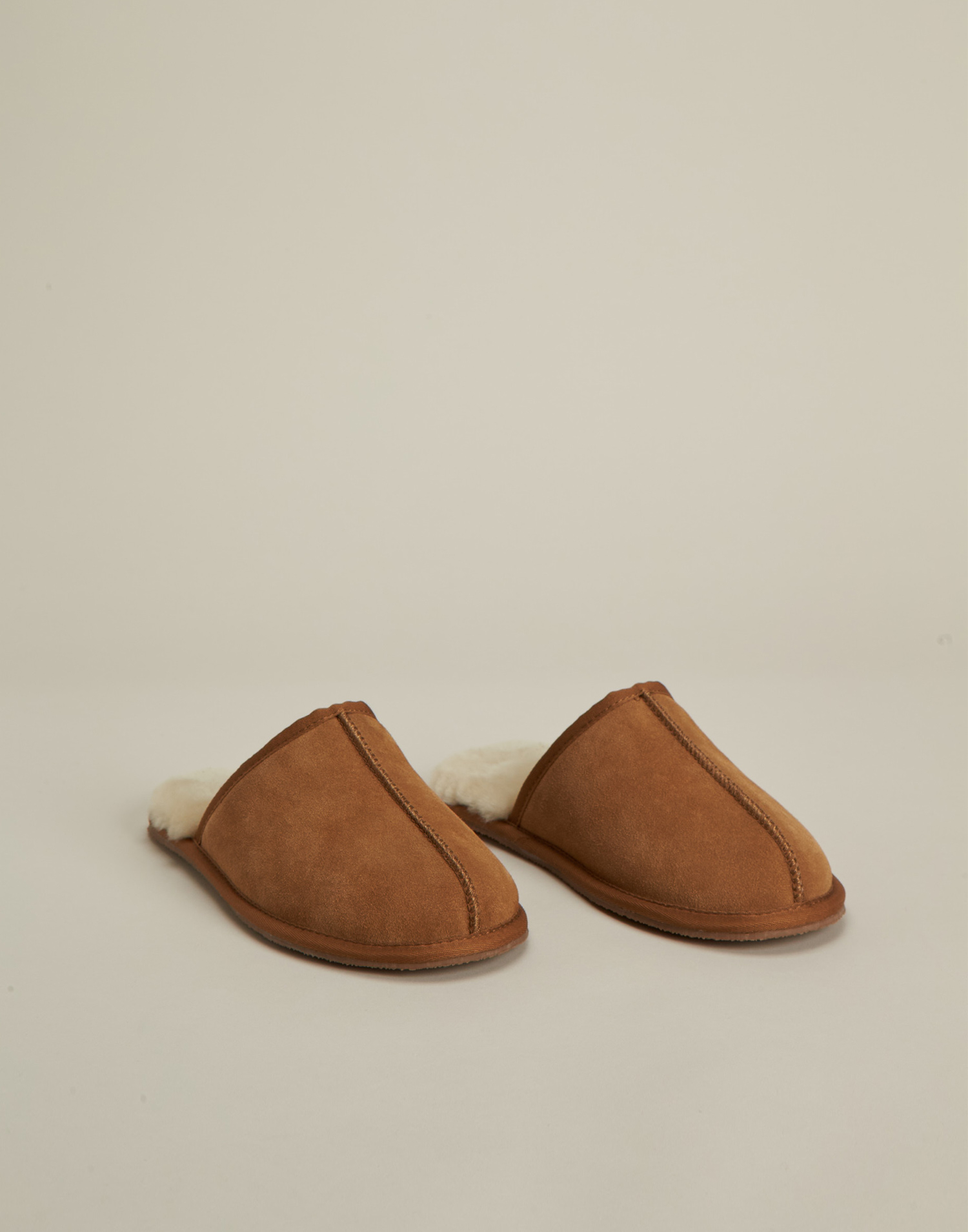 Men wool & leather slippers