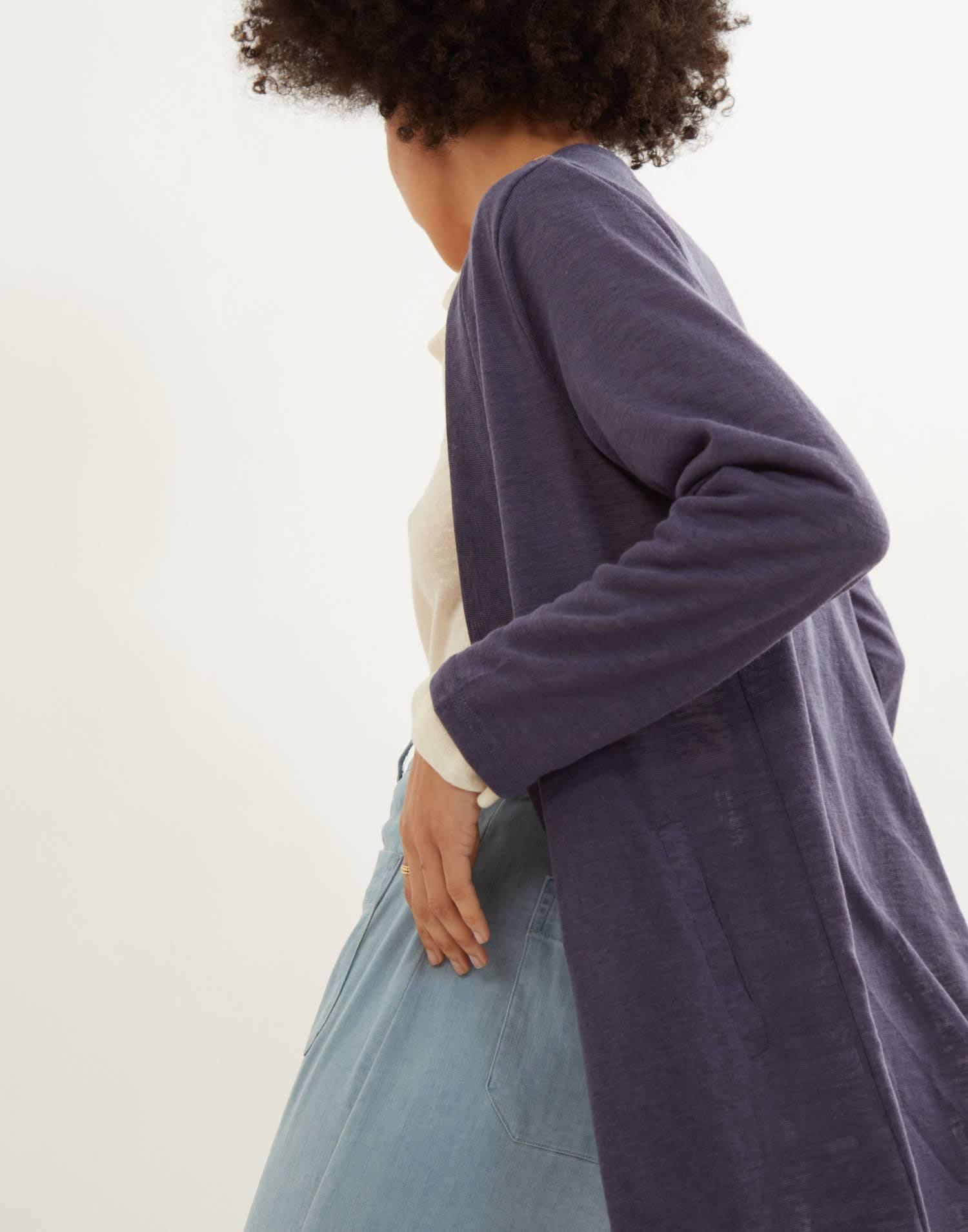 Cardigan long tissu rustique