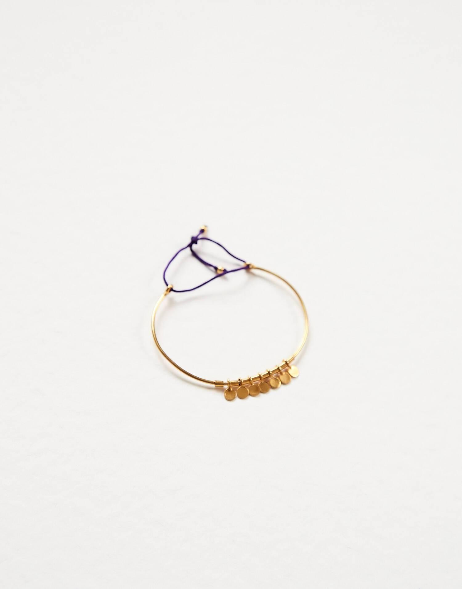Pulsera ajustable medallitas baño de oro