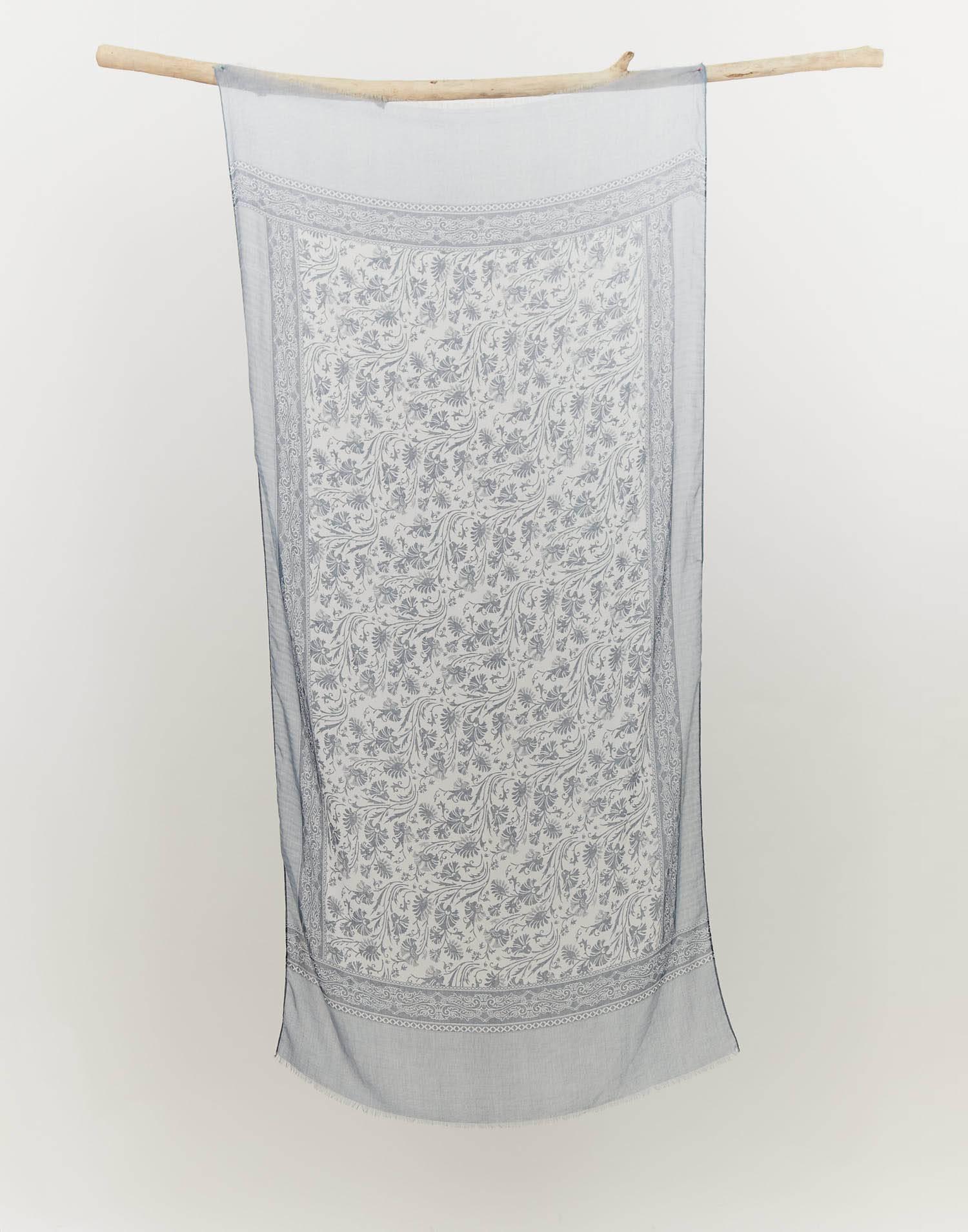 Fular bicolor print floral cenefa