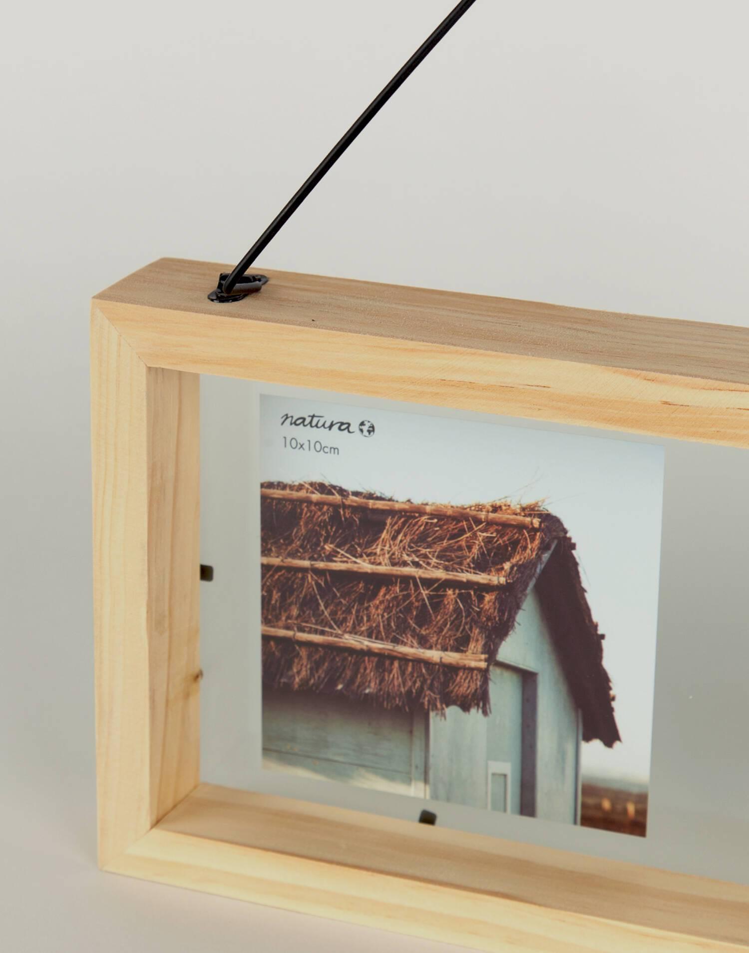 Wood frame with metal hanger