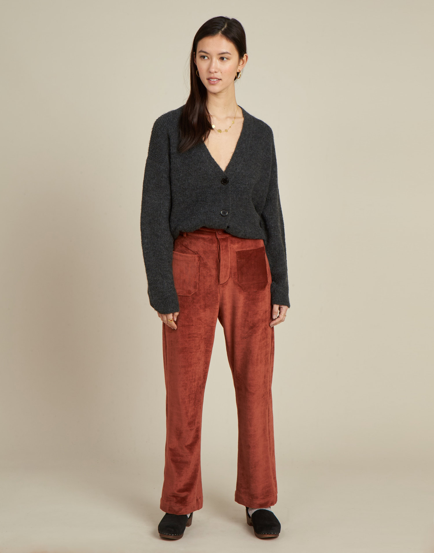 ribbed ttrousers with pockets