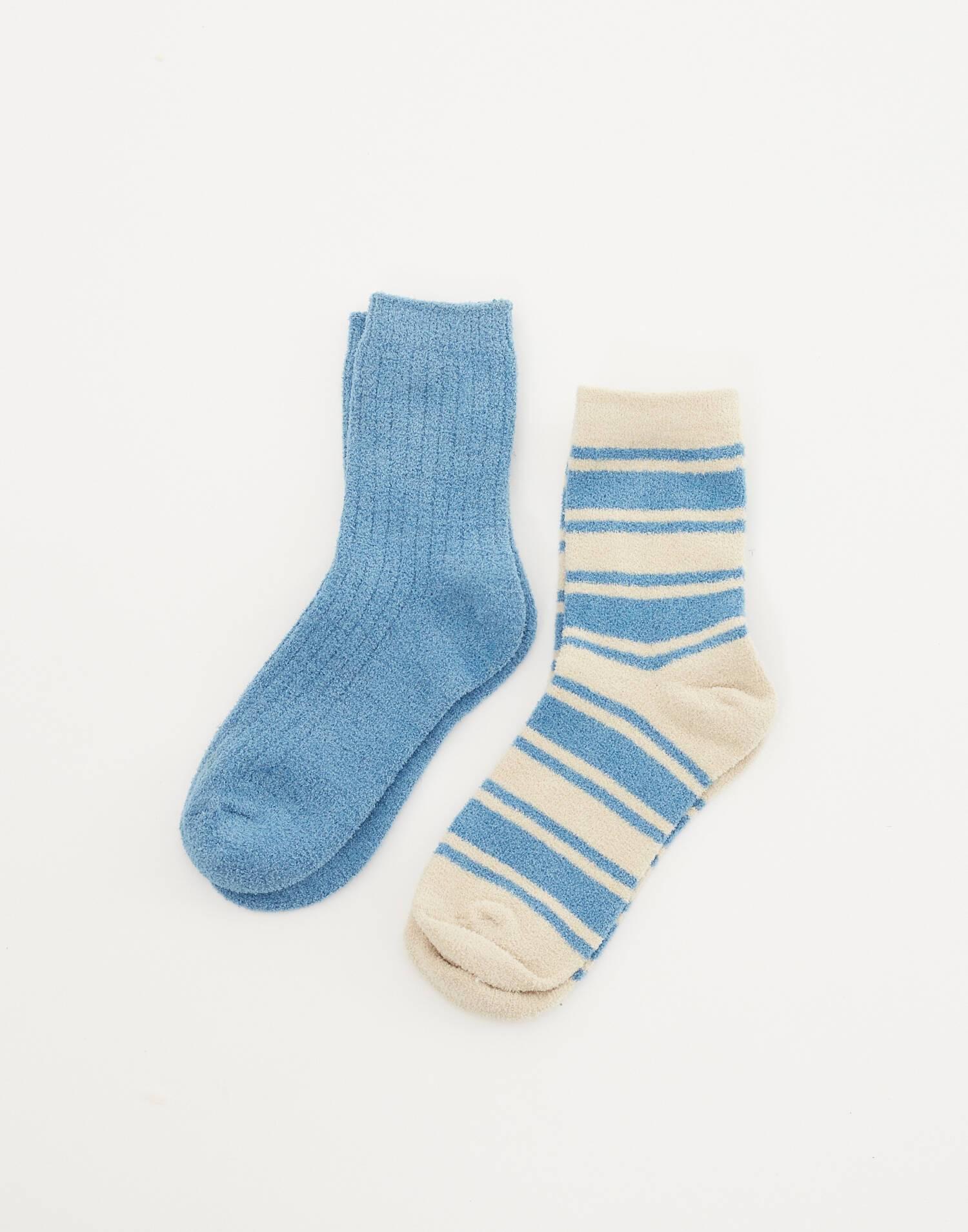 strippes and rib 2-pack socks
