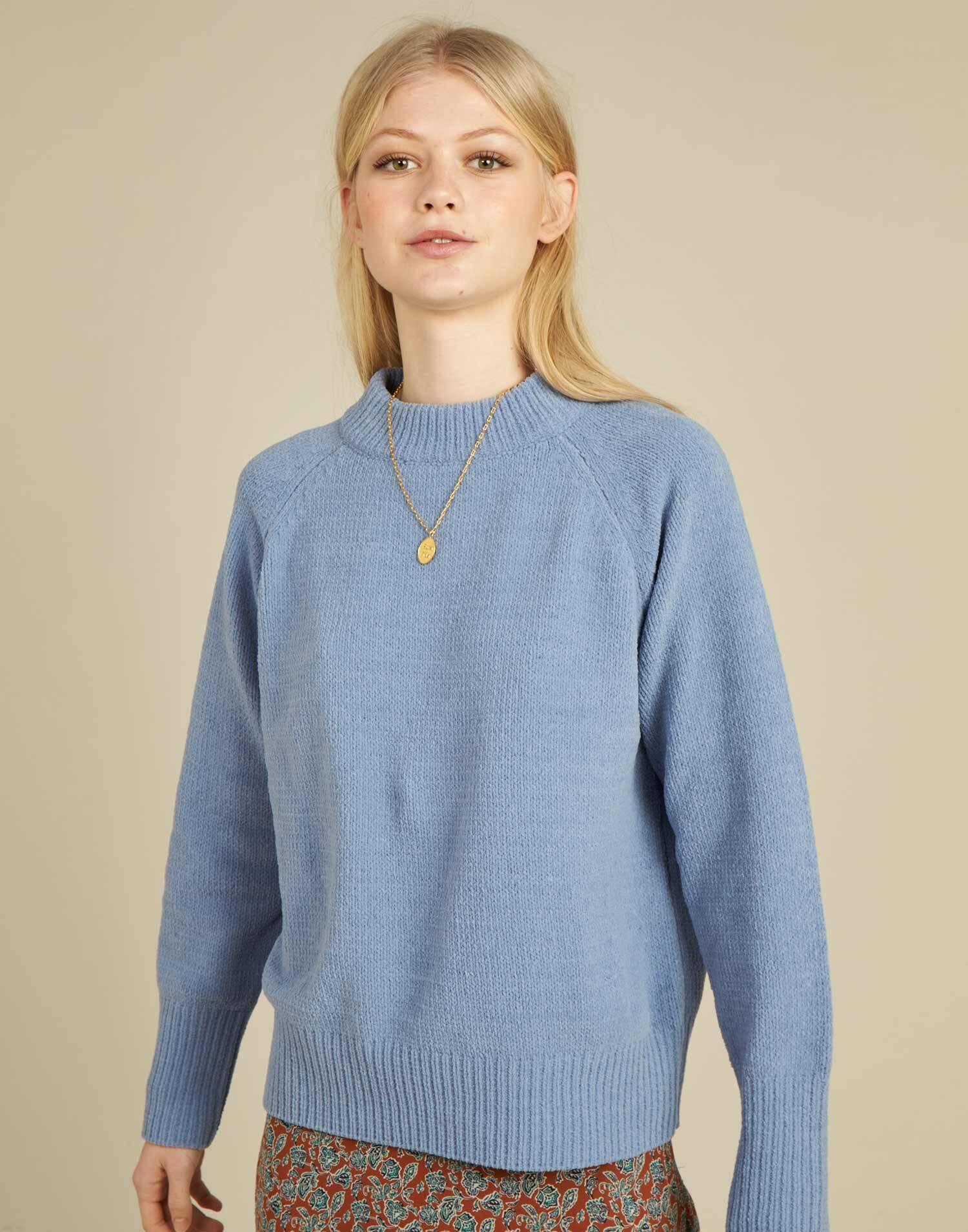 maglione raglan girocollo in ciniglia
