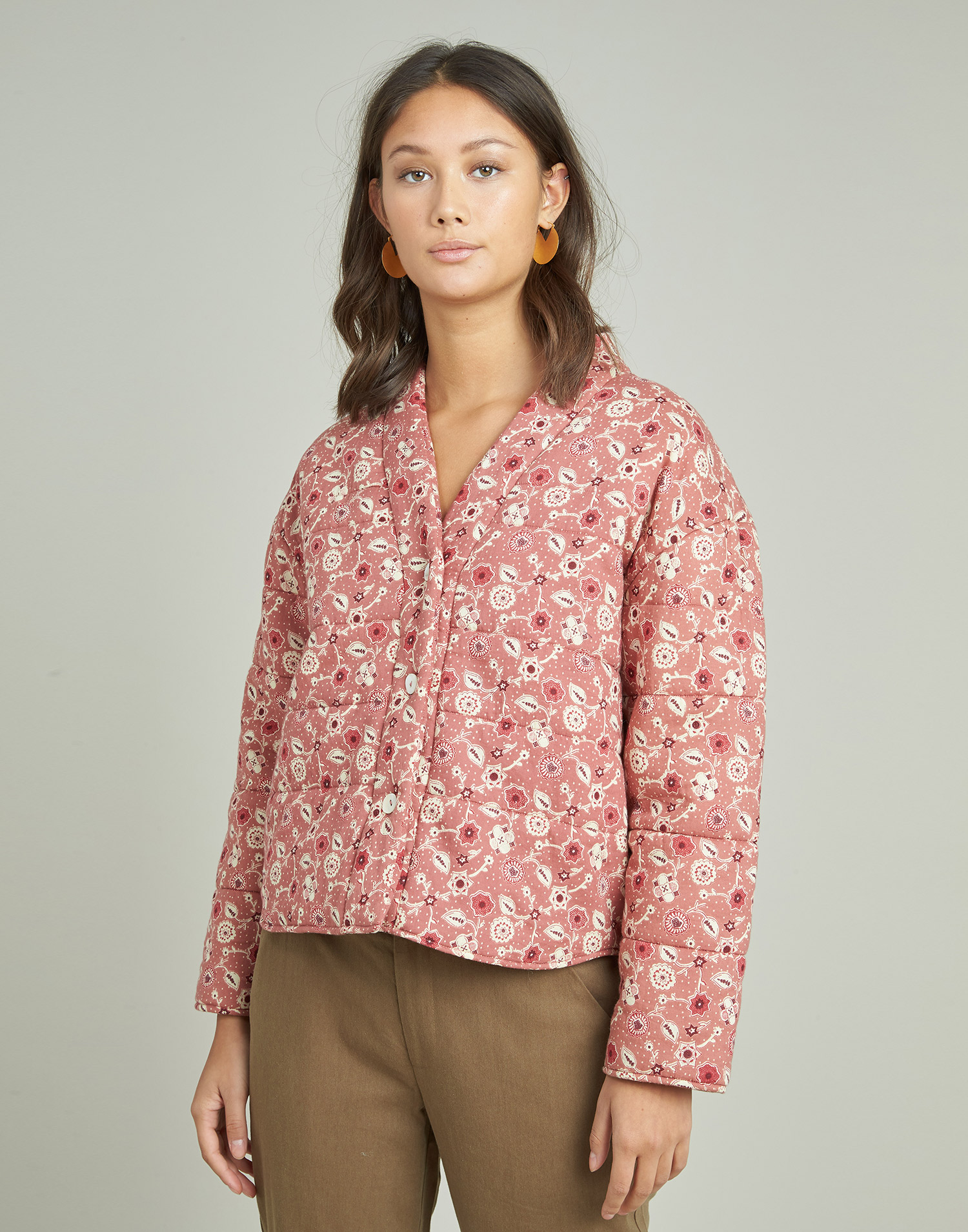 Flower print padded jacket