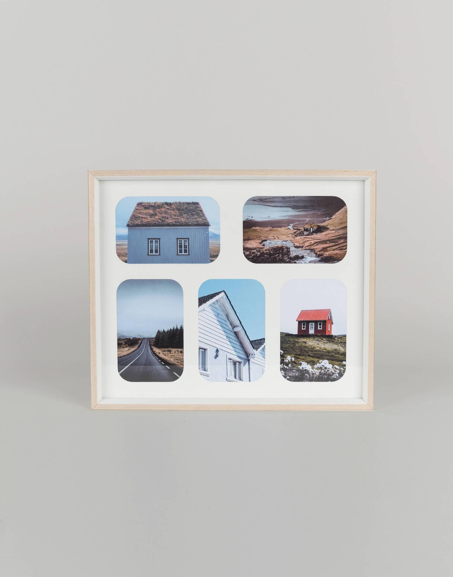 Einfacher bilderrahmen aus holz für 5 fotos