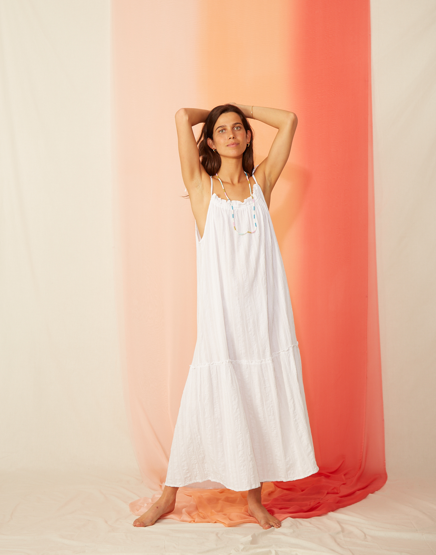 Tie-shoulder white dress