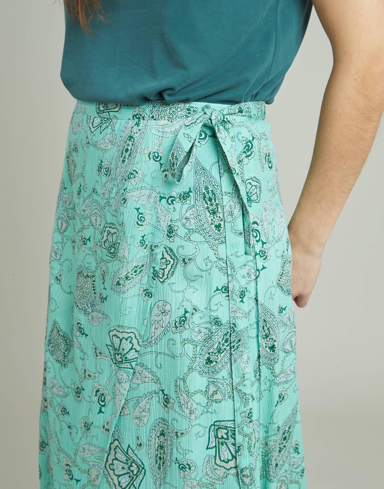 Flowered pareo long skirt