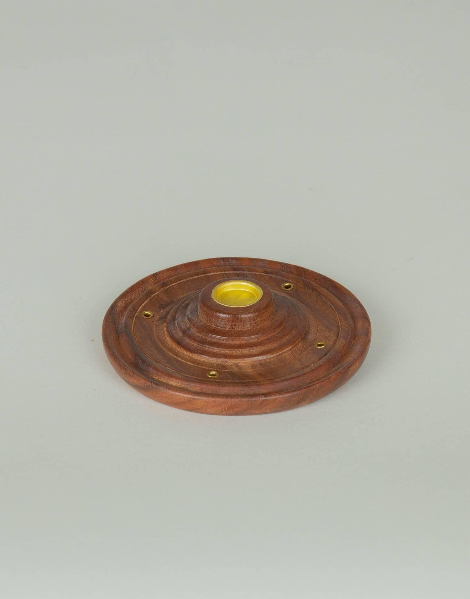 Inciensario madera con plato