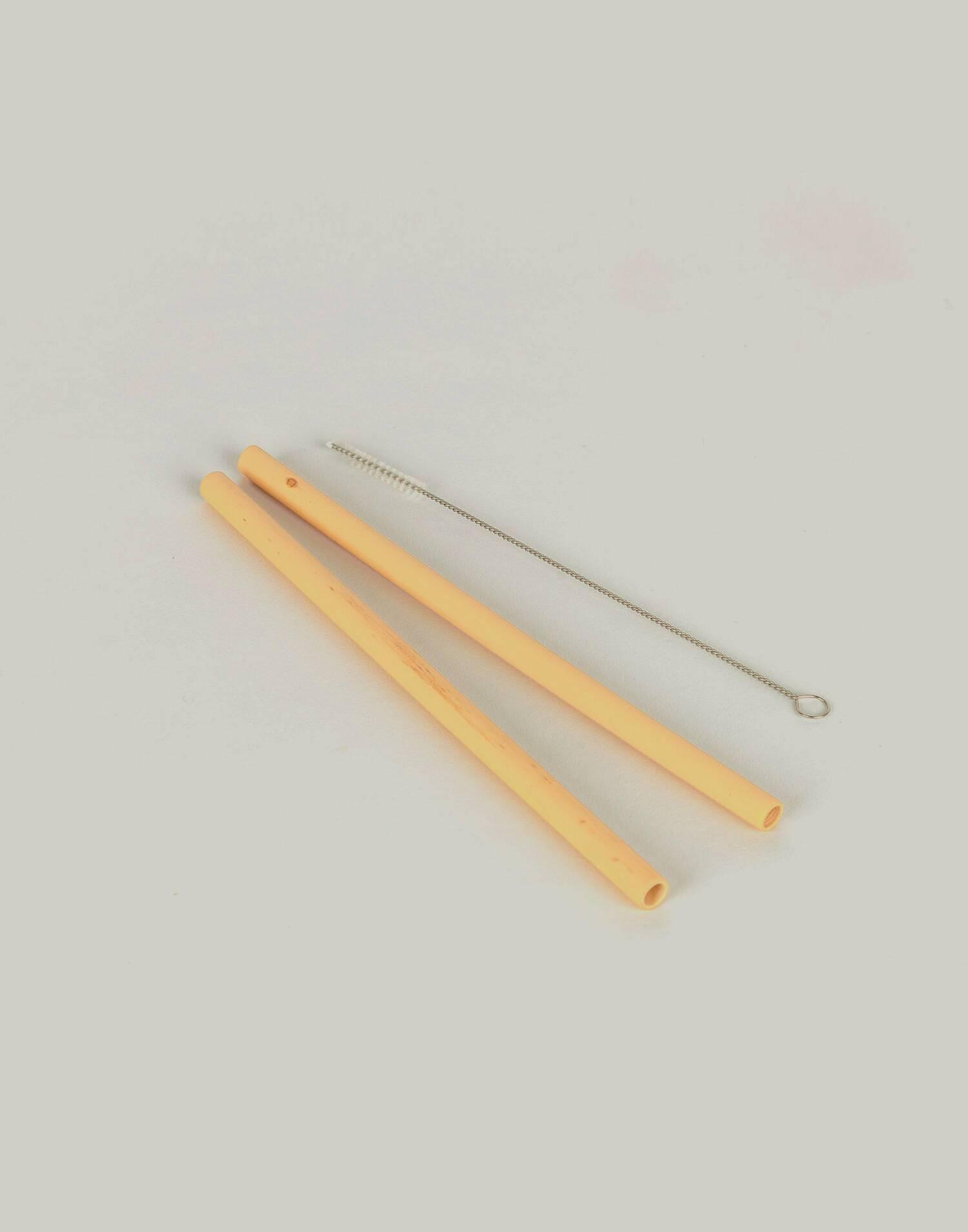 Set 2 pajitas bambú