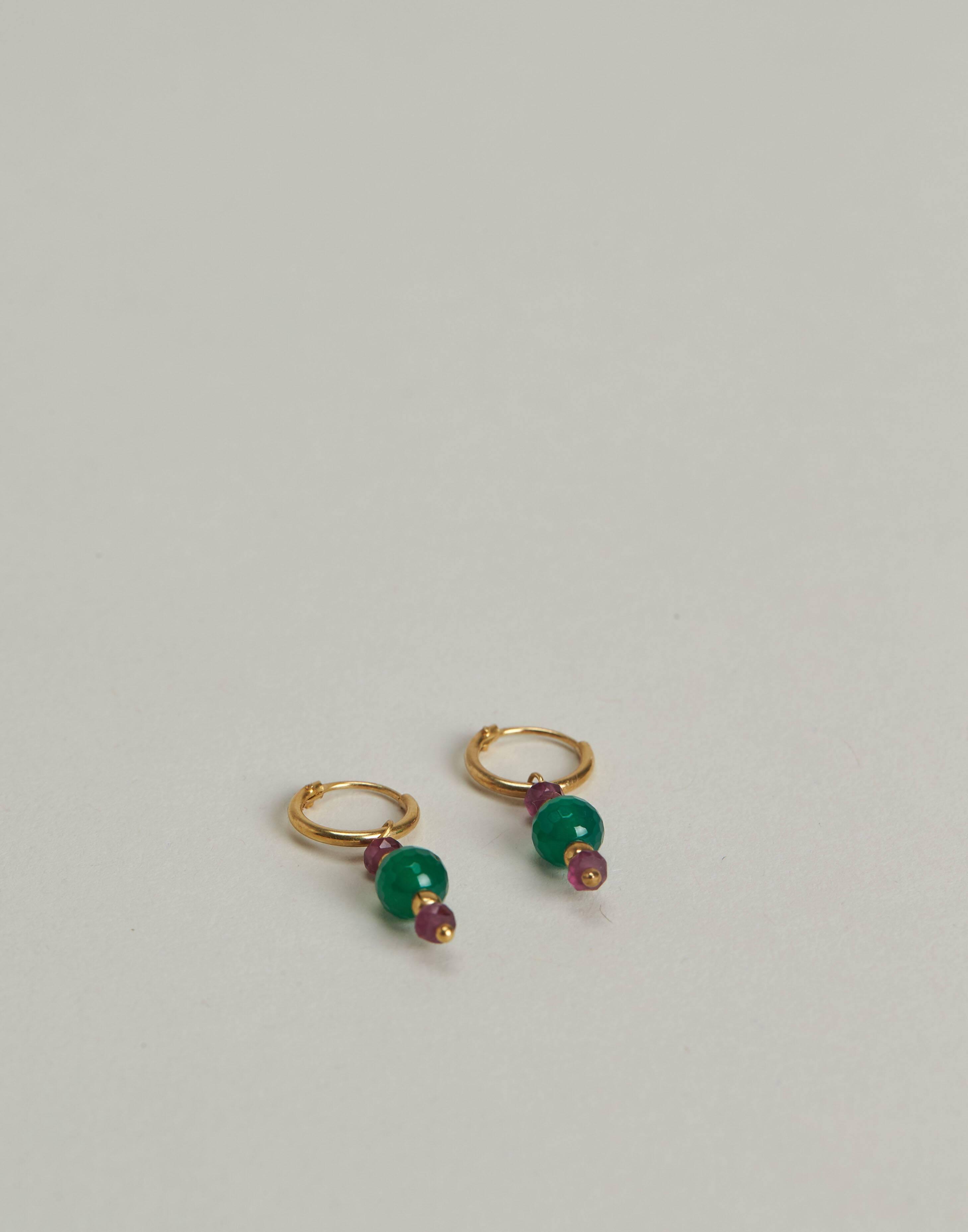 Gilded three stones hoop earrings