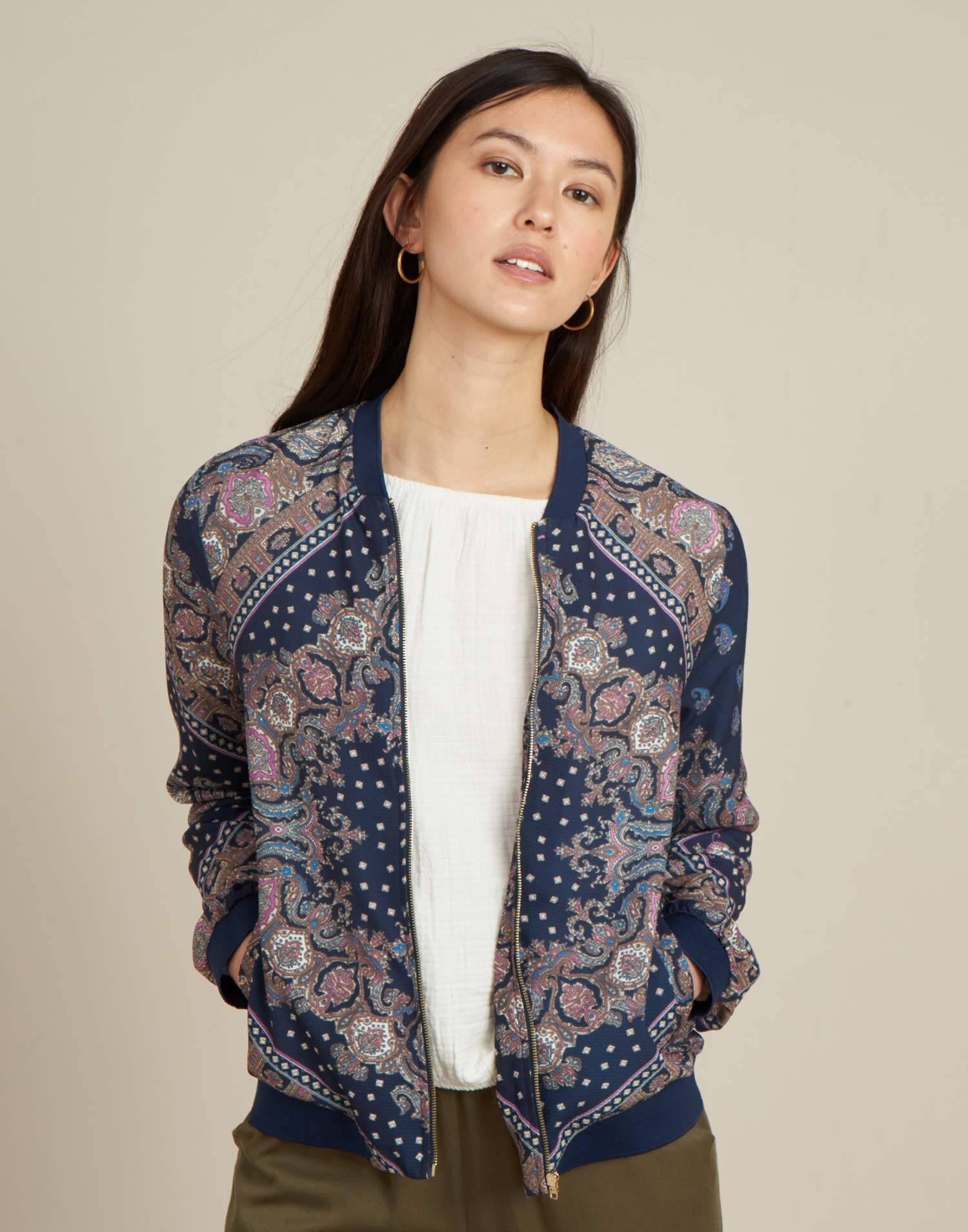 cashmere print bomber jacket