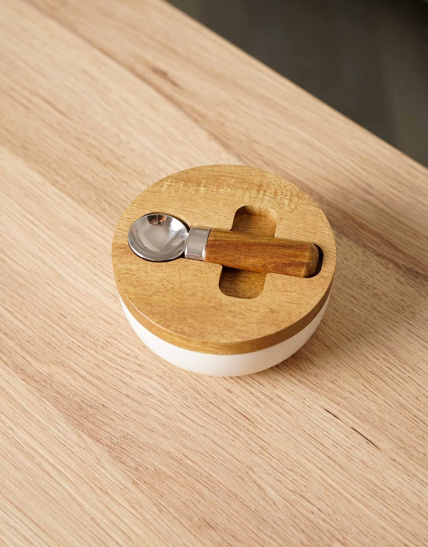 Azucarero madera con cuchara