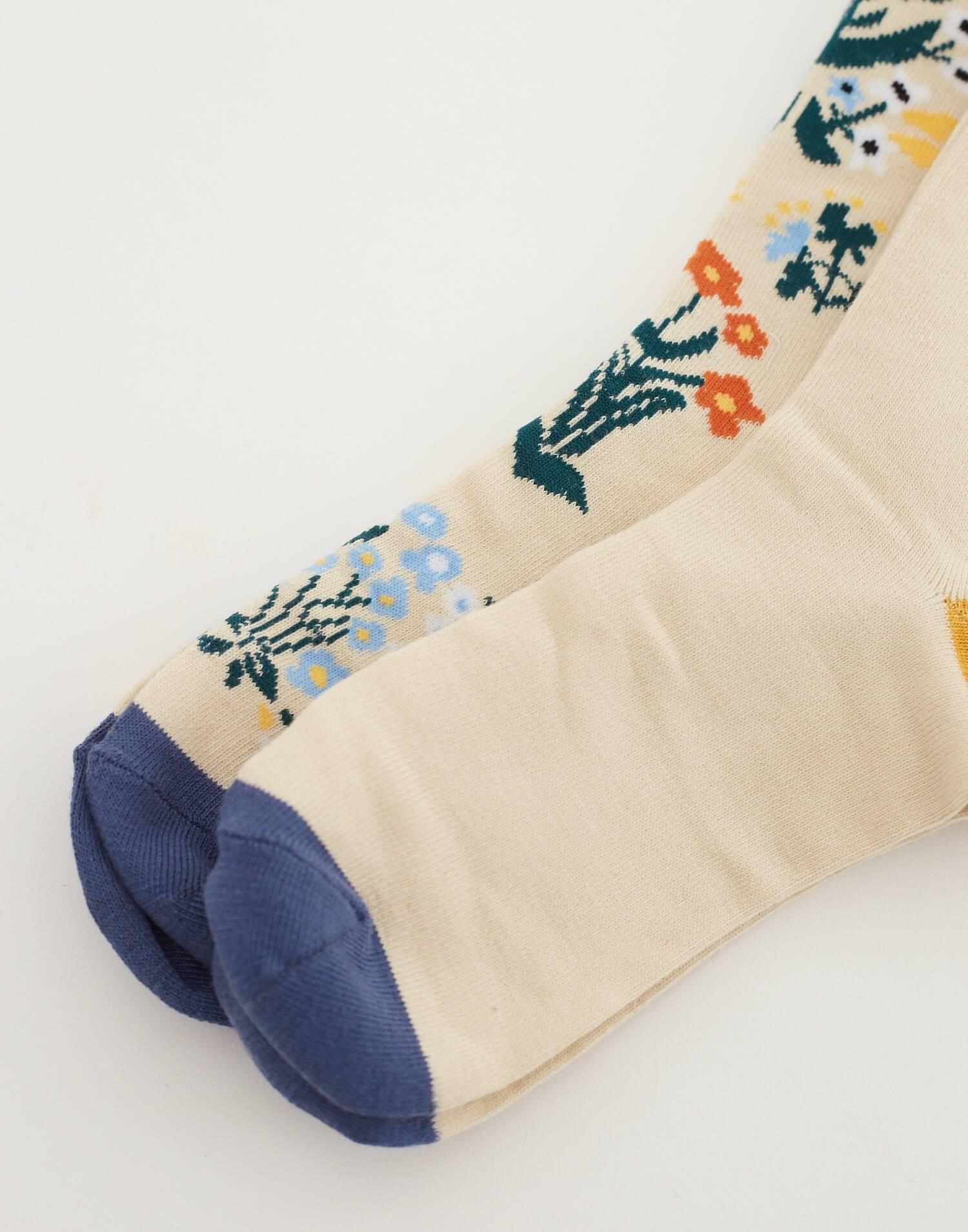 Pack 2 calcetines ramo y flores