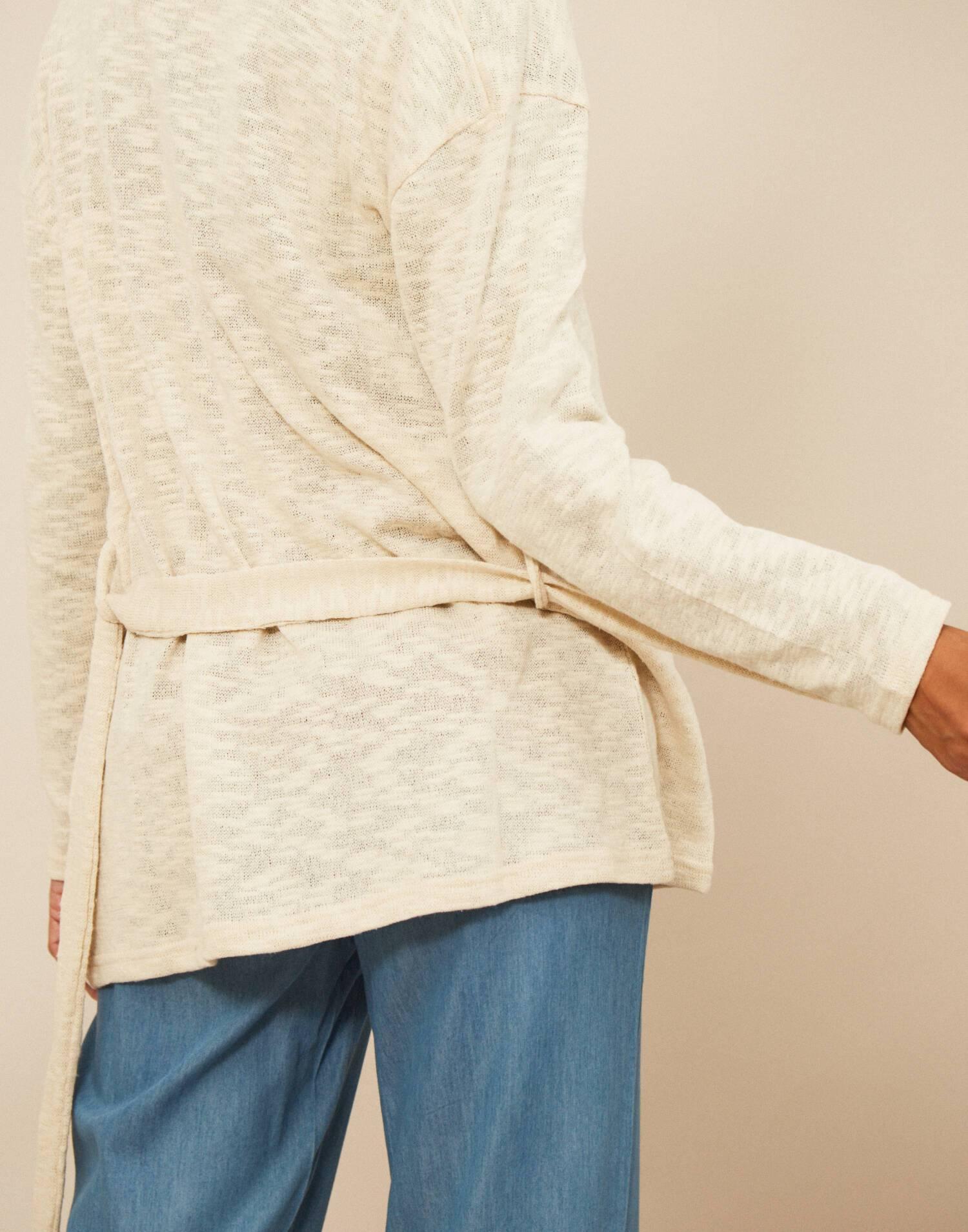 Chaqueta cinturón tejido rústico