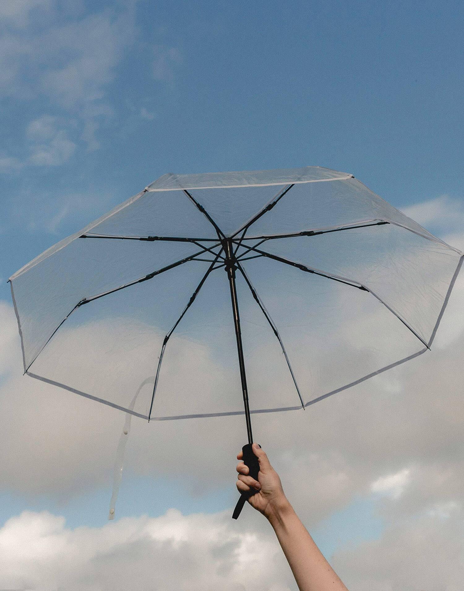 Paraguas plegable transparente
