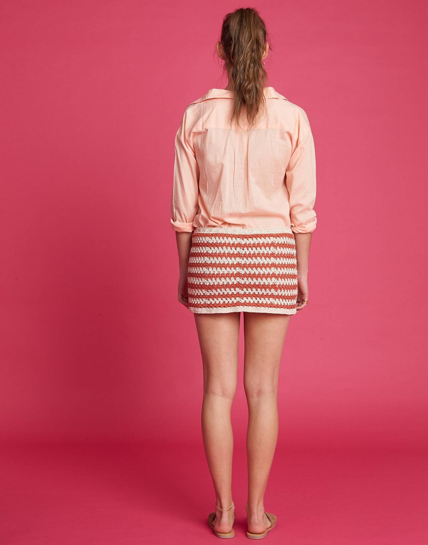 Falda crochet bicolor