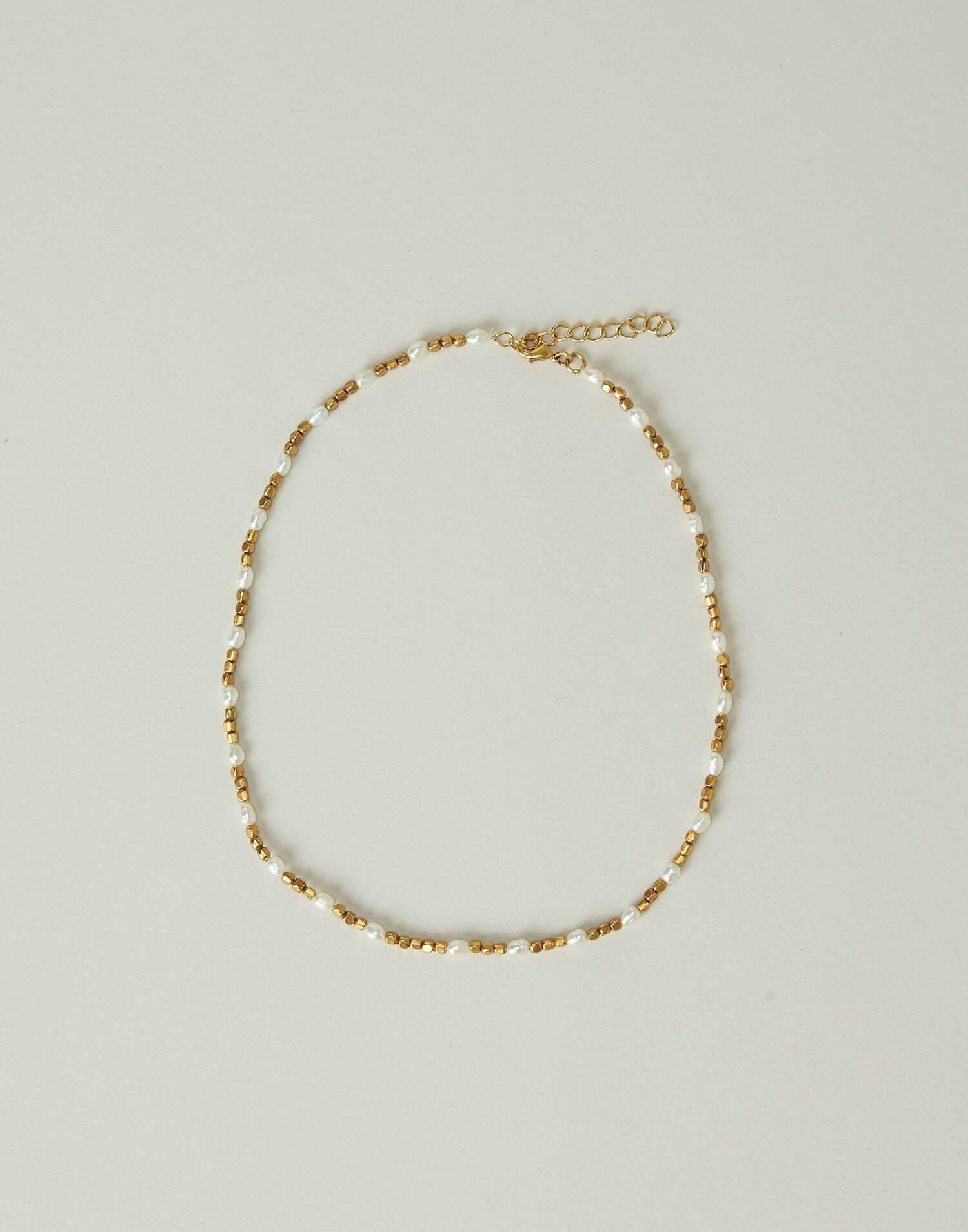 Collar perlas baño de oro