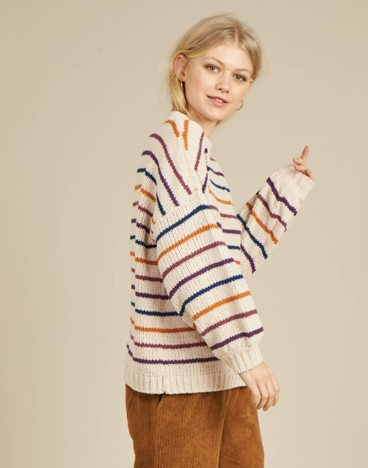 Jersey chenilla rayas finas multicolor