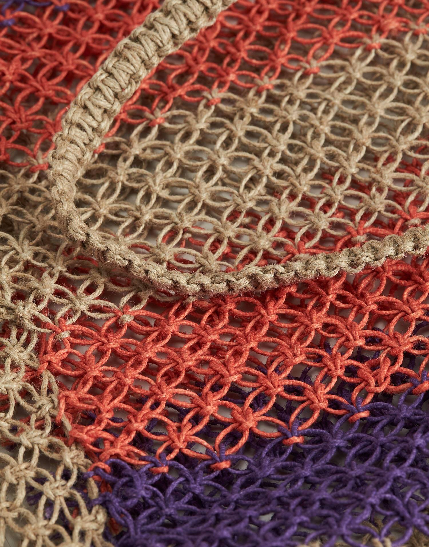 Multicolor striped jute bag