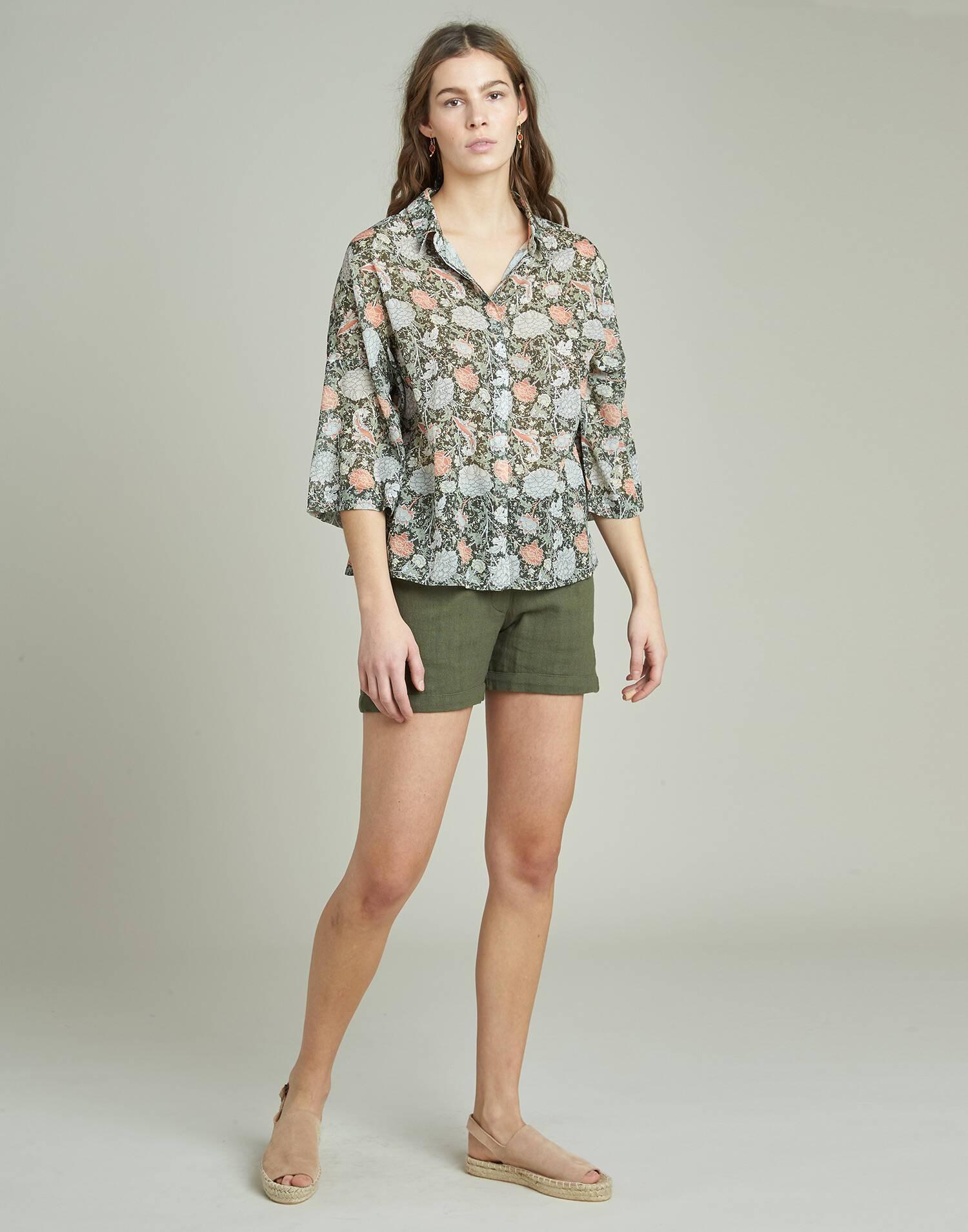 Camisa 3/4 print floral