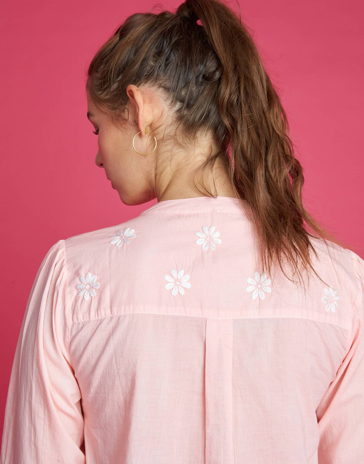 Embroidered henley shirt