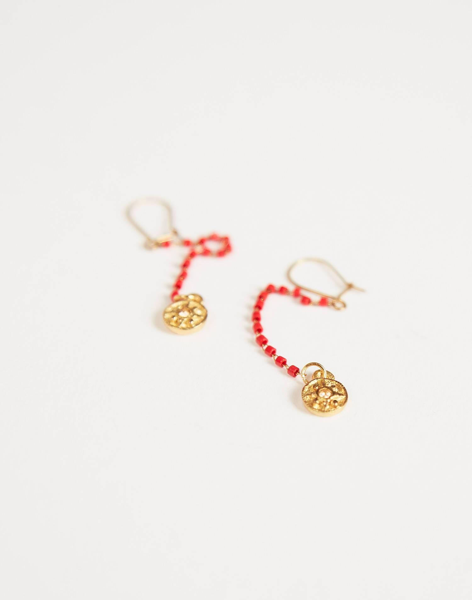Boucles d'oreilles chaîne et médaillon