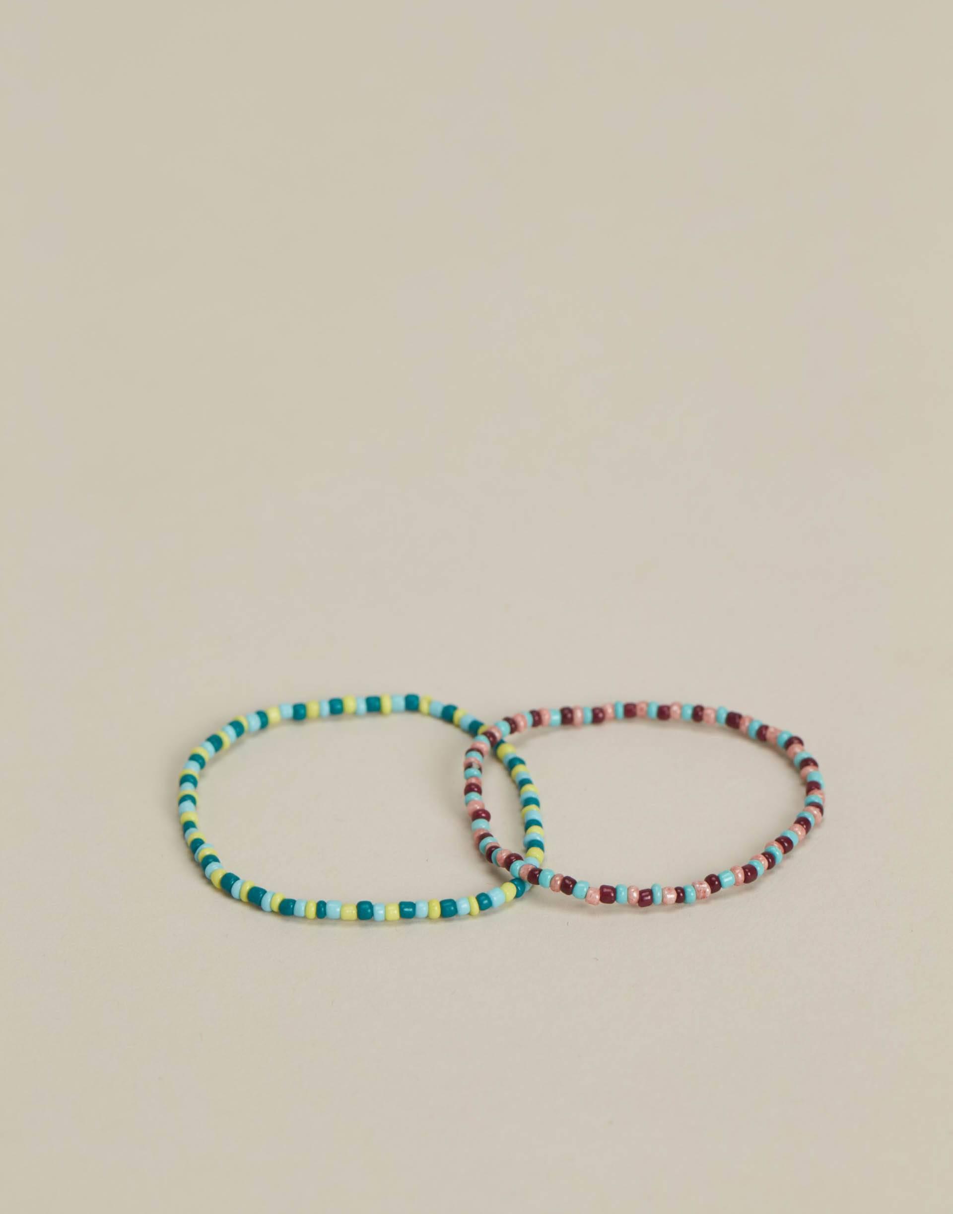 Set 2 pulseras cuentas multicolor