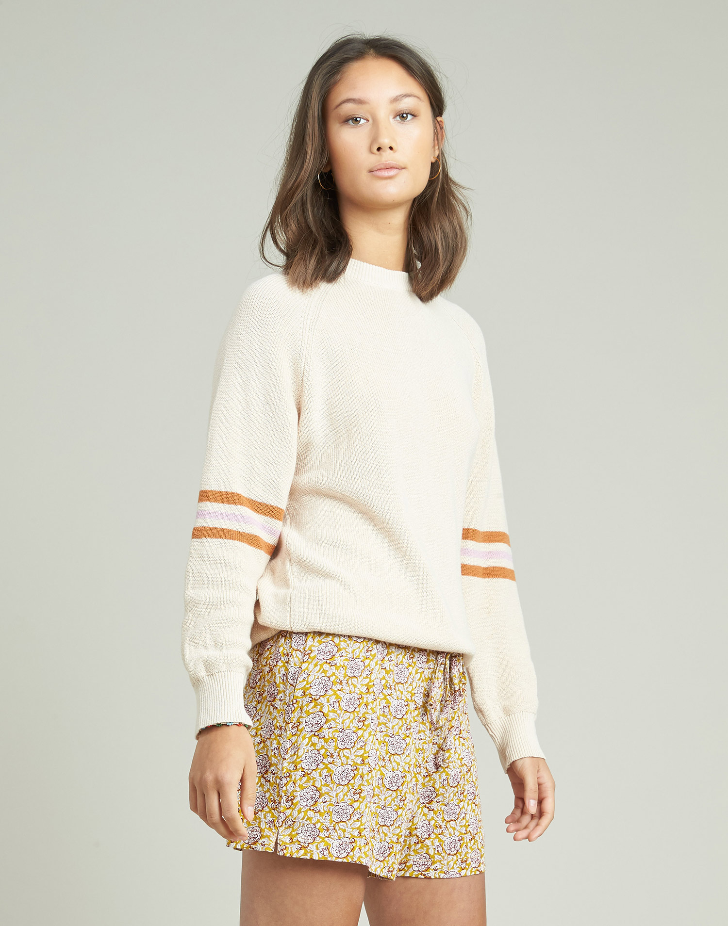 Sweater with stripes at sleeves and hem