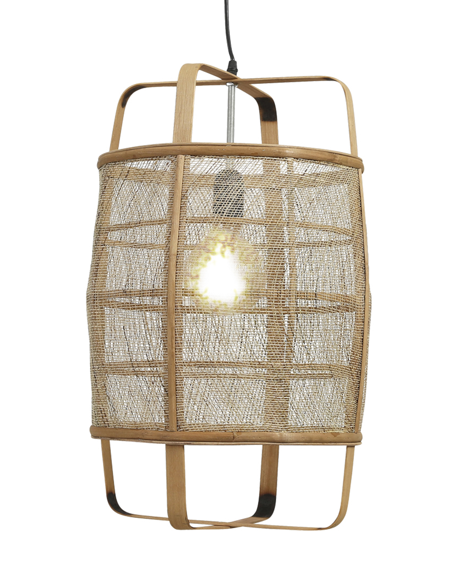 Natural cane ceiling lamp