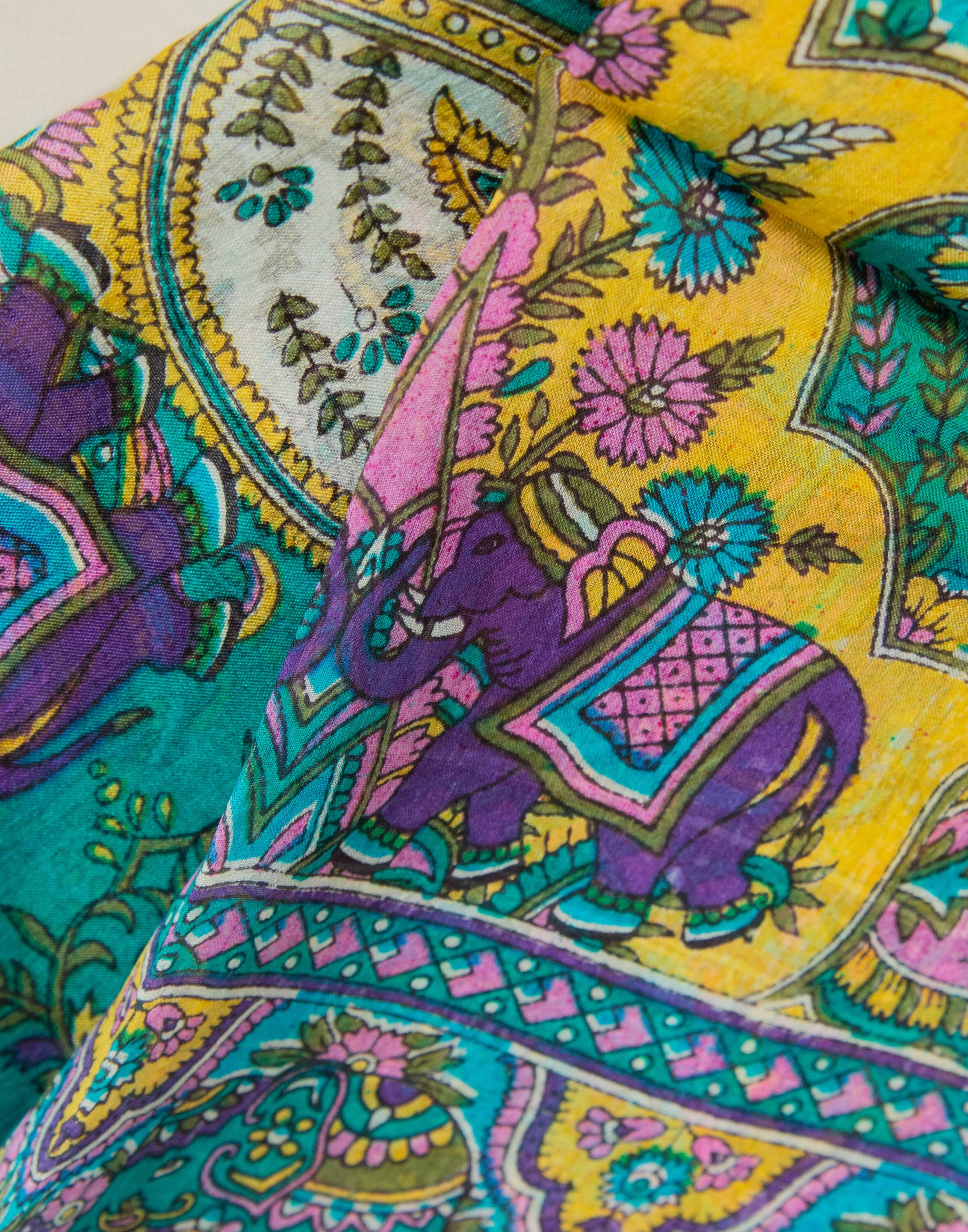 Elephant print silk foulard