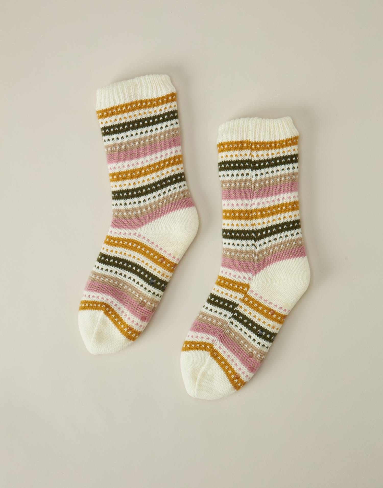 Chaussettes tricot rayures pastel