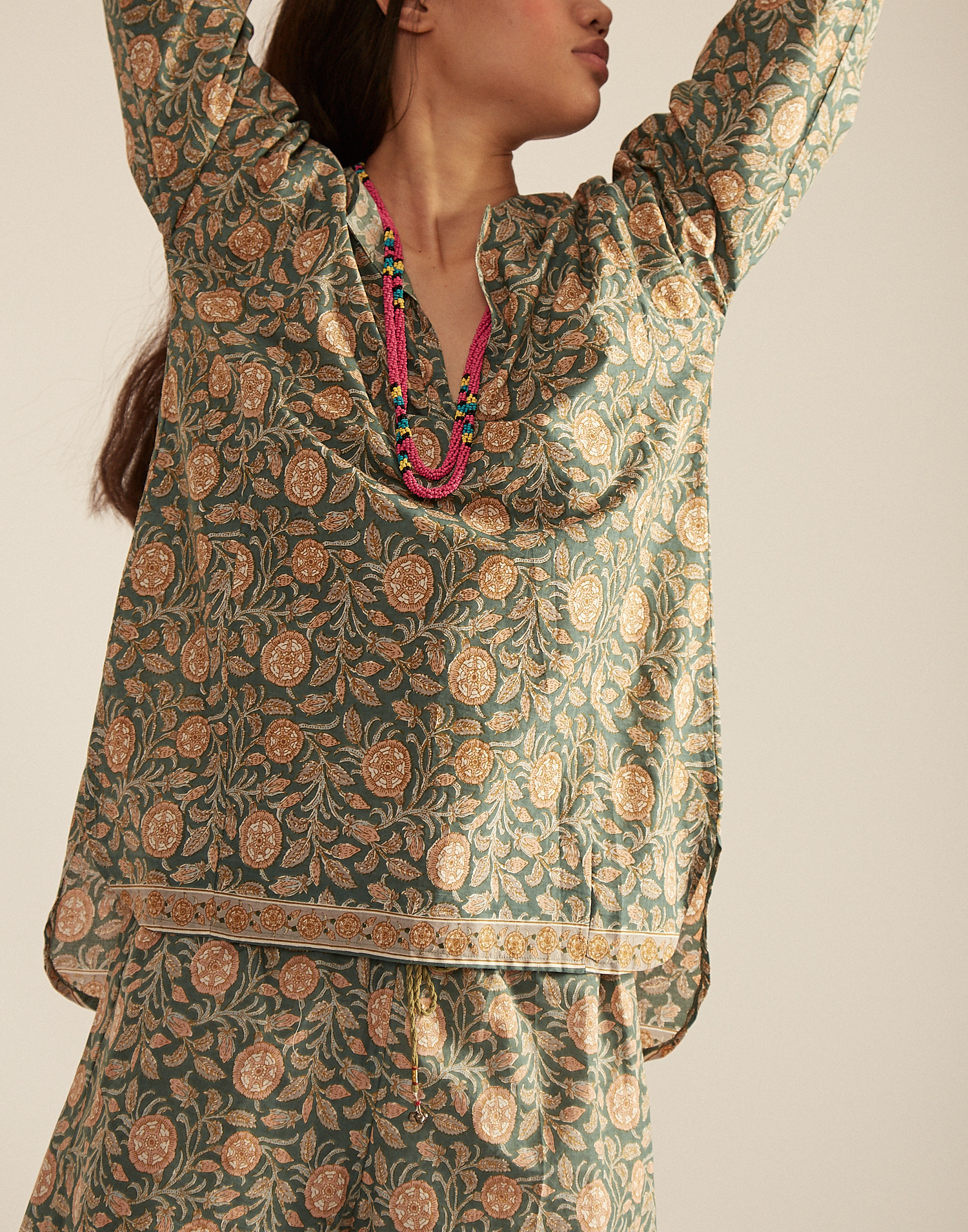 Blusa maniche lunghe indiana cotone