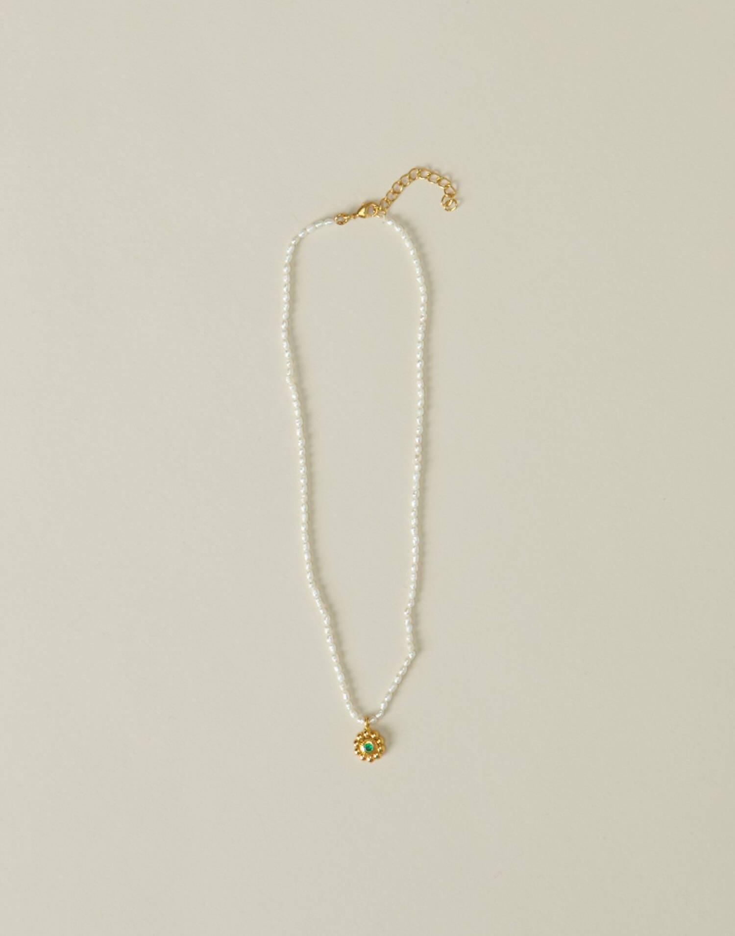 Collar perlas colgante flor baño de oro