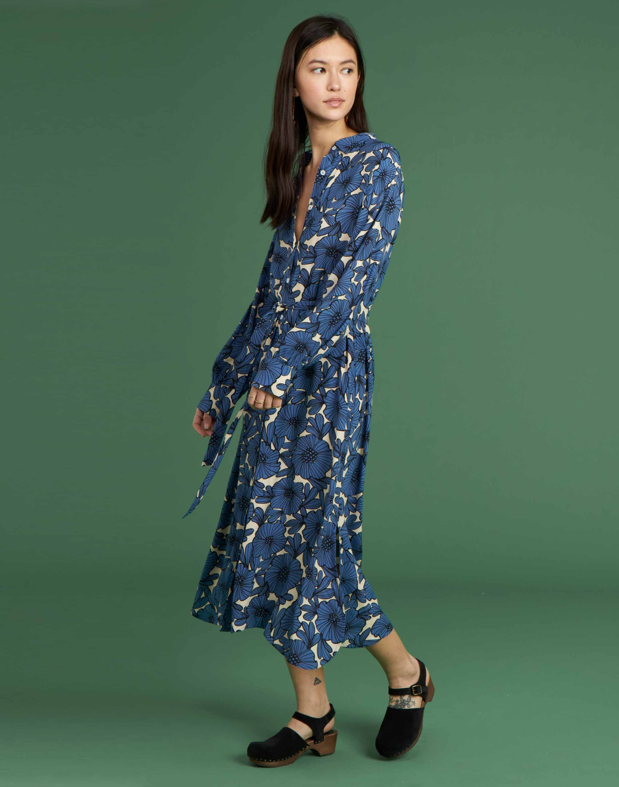 Flower print bicolor midi dress