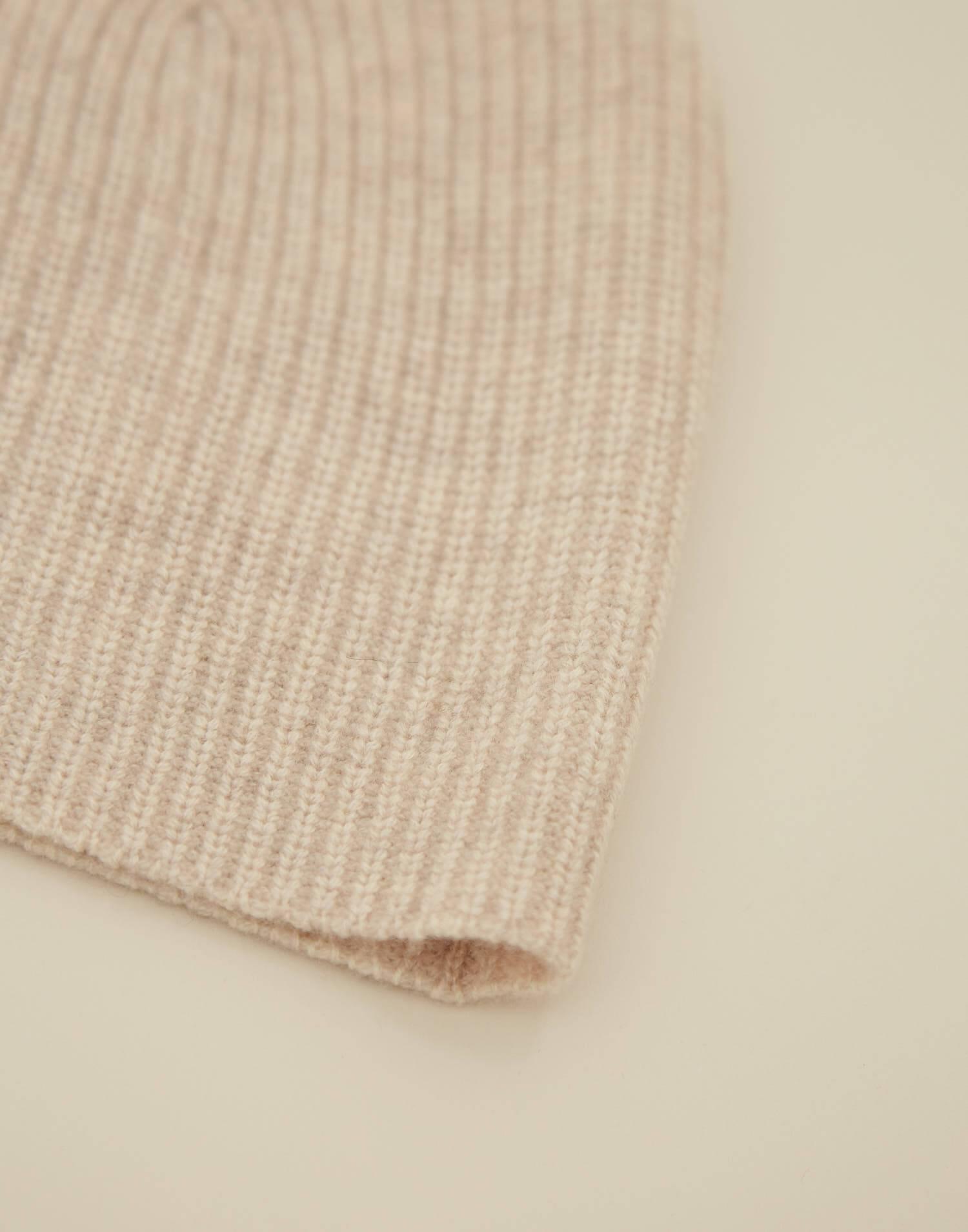 Bonnet cachemire tricot côtelé