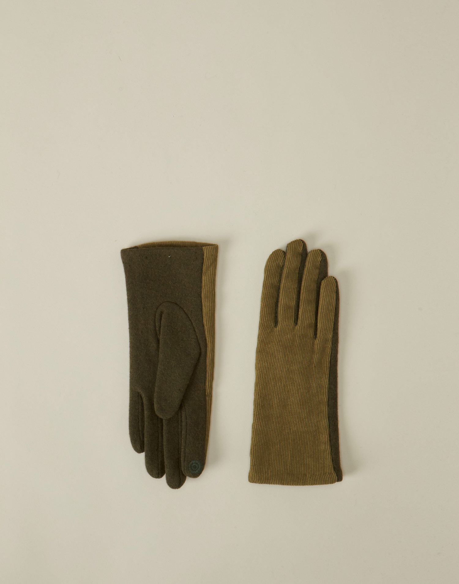Corduroy woolen tech glove