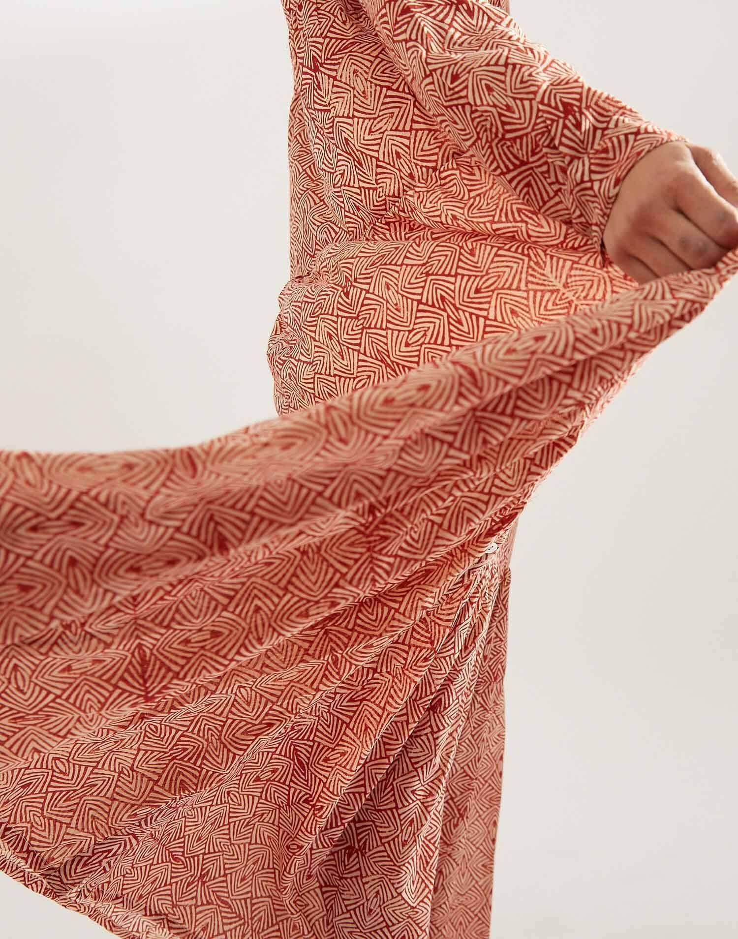 Cotton geometric maxi dress