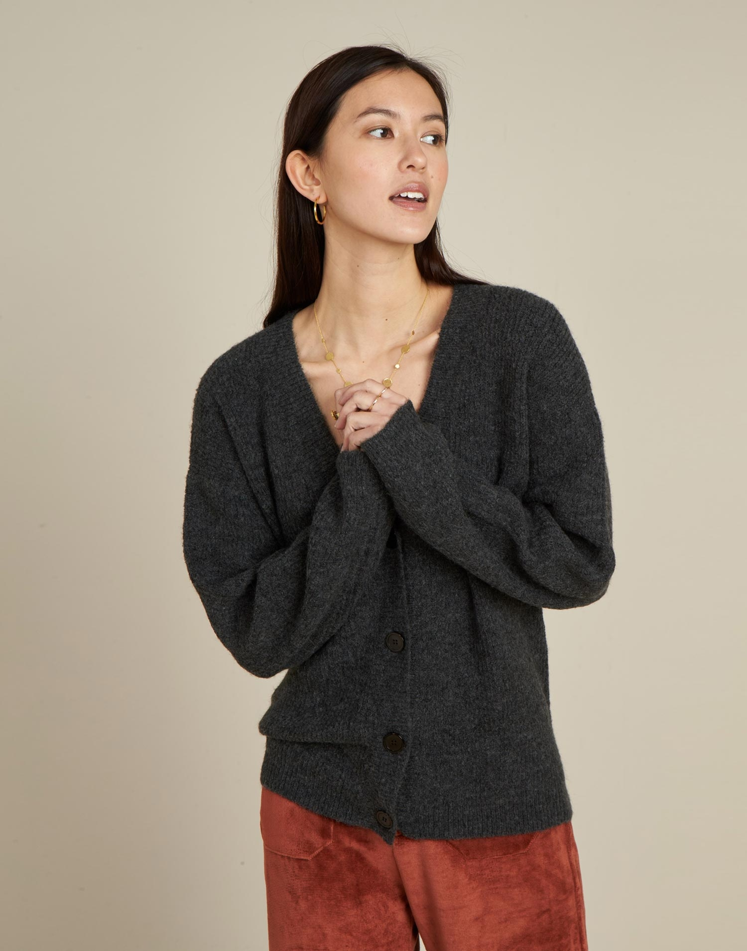Ribbed unisex cardigan