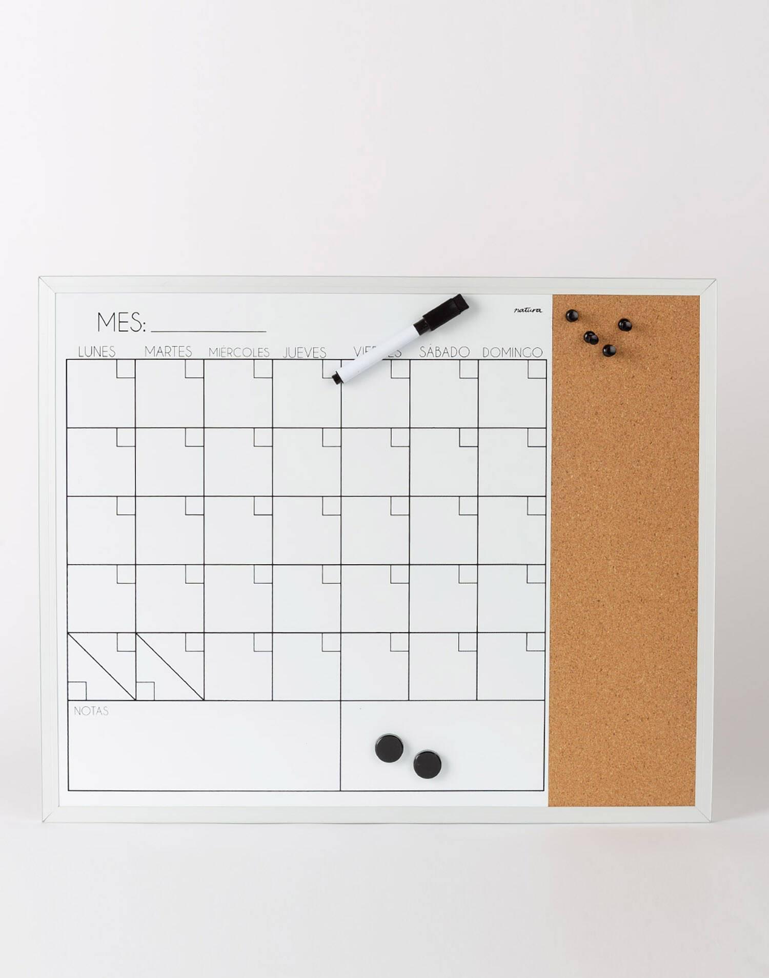 Organizador mensual y corcho