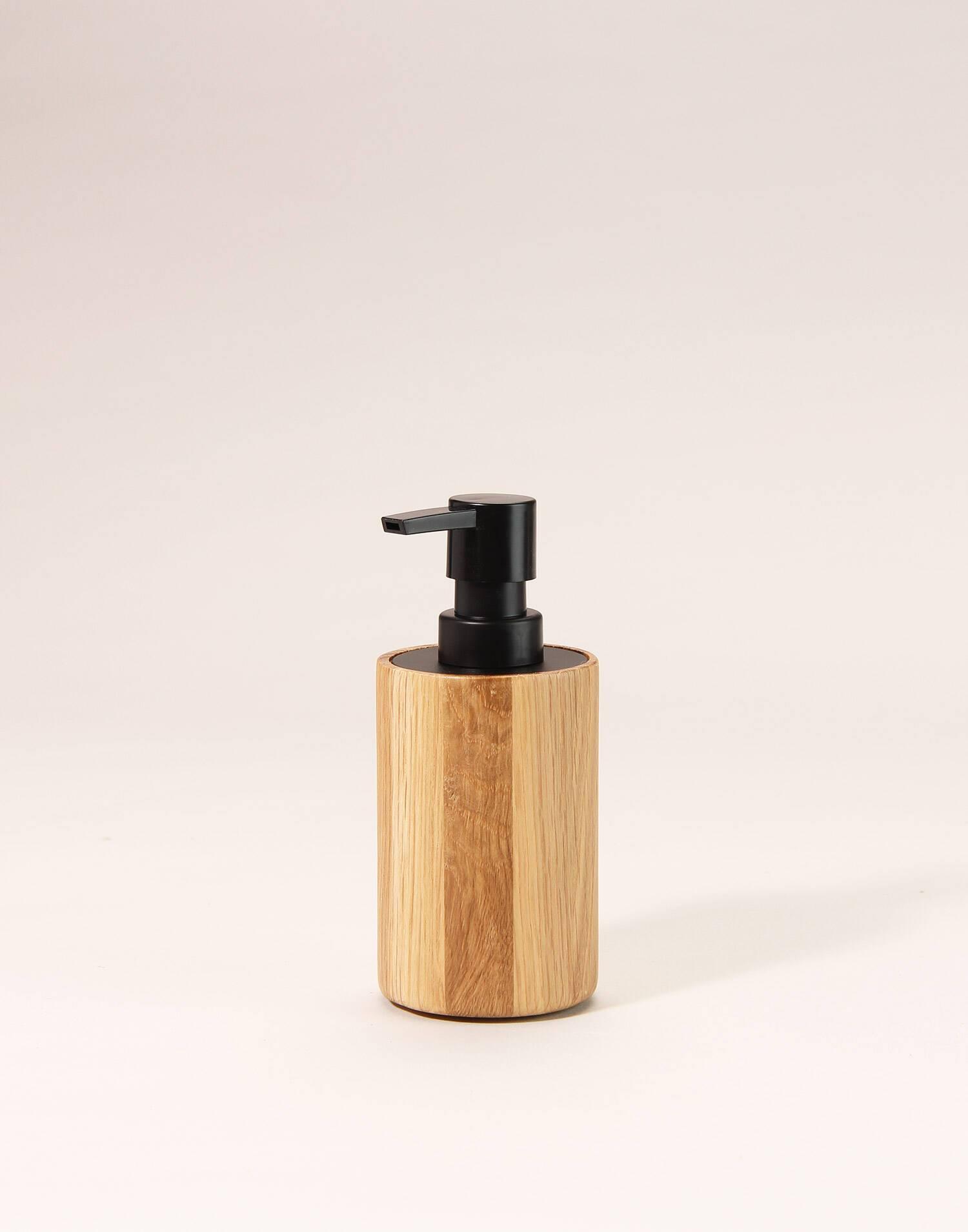 Dispensador jabón roble/inox