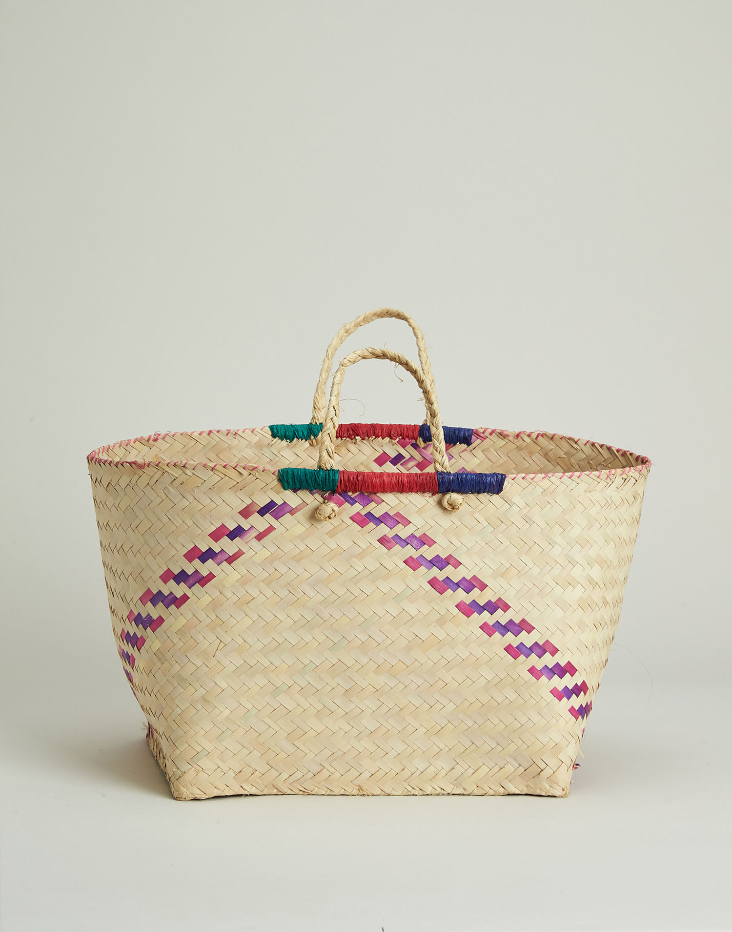 Color trimming basket bag