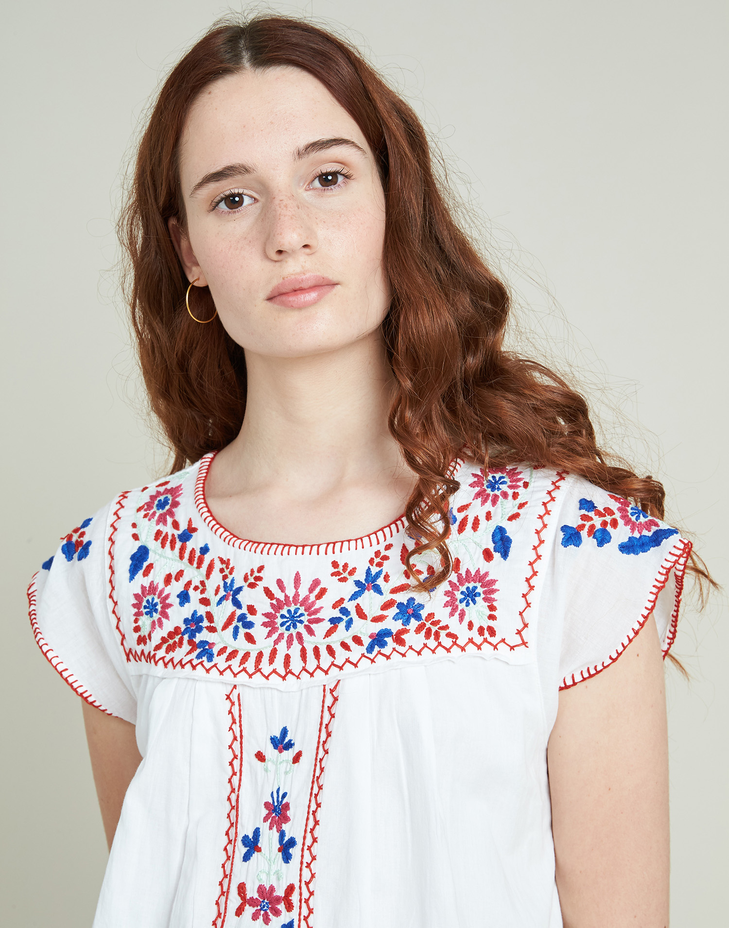 Embroidered mexican stitch dress
