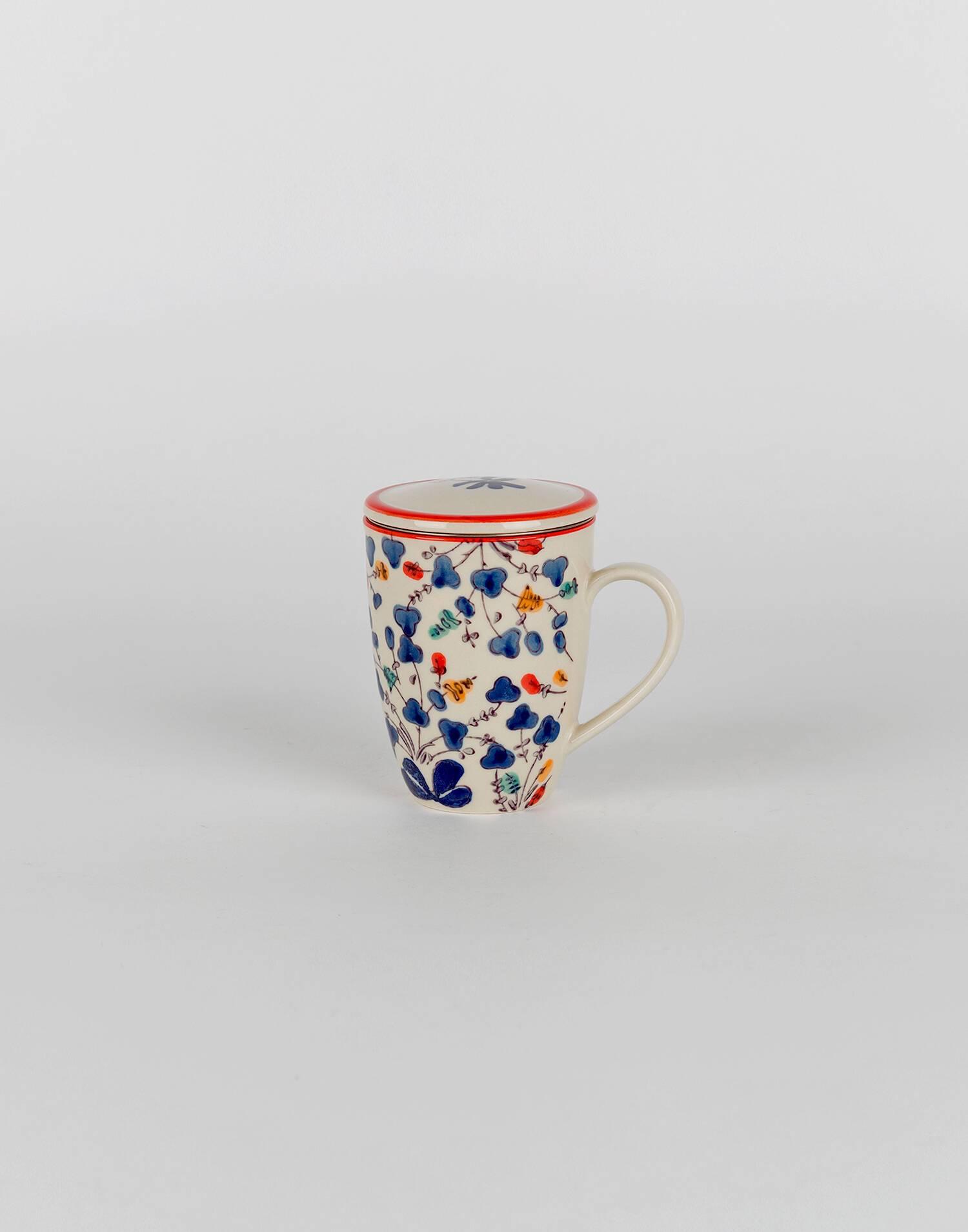 Watercolor tea mug with filter