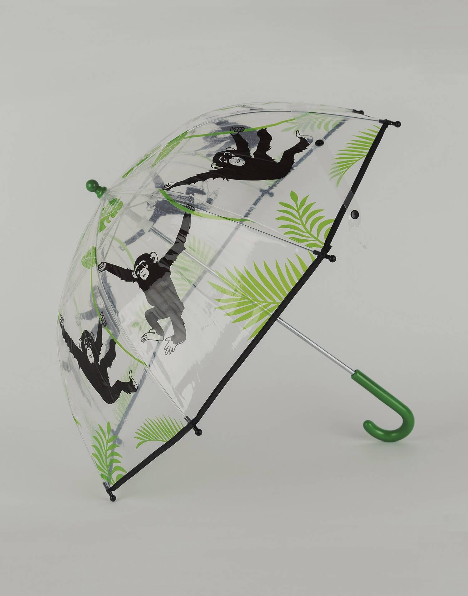 Paraguas transparente mono